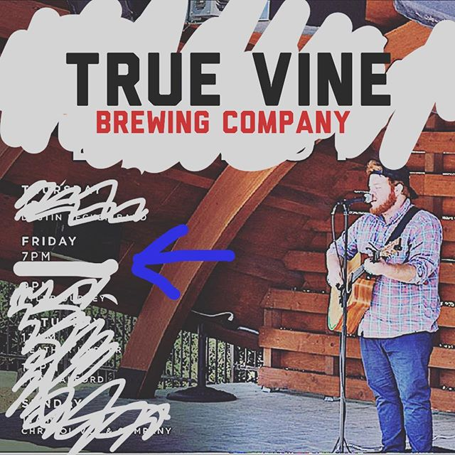 I couldn't find a photo of me playing, but @thegrovetyler has an awesome photo of me. While that is one of my favorite places to play.... I am not playing there this weekend! BUUUUTTT!!! I am playing tonight at @truevinebrewing at 7! Come hang!
