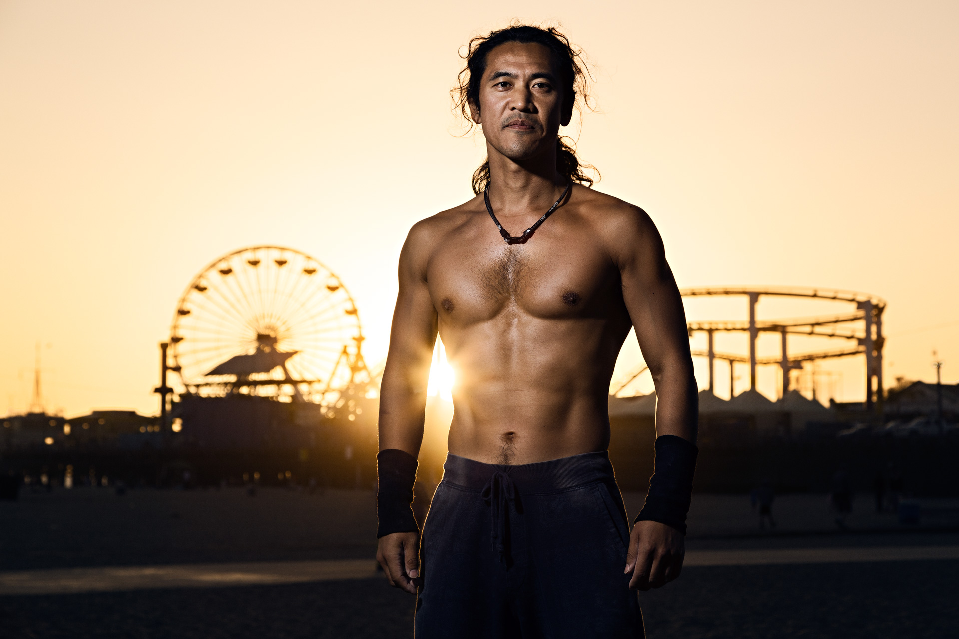 Yoshi, actor and stunt, after his workout in Santa Monica