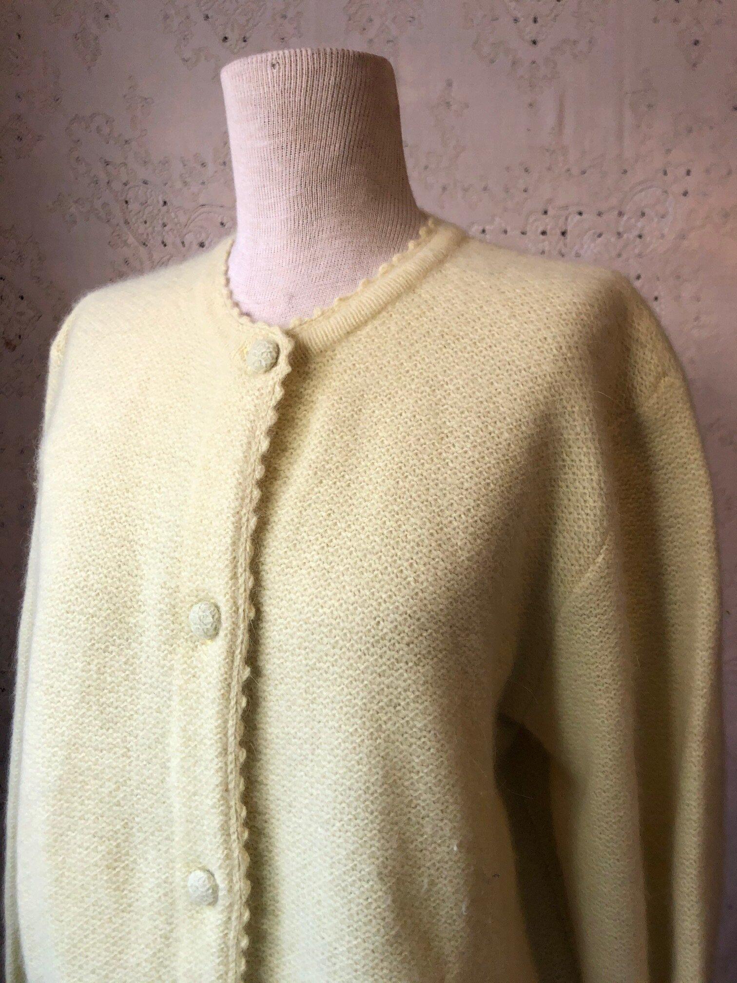 Vintage Lemon Lambs Wool Cardigan