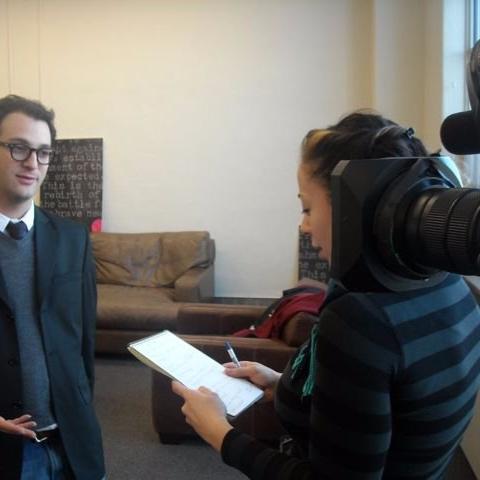 Producer Nasreen Alkhateeb interviews Josh Fox, director of Gasland, at Sundance 2010