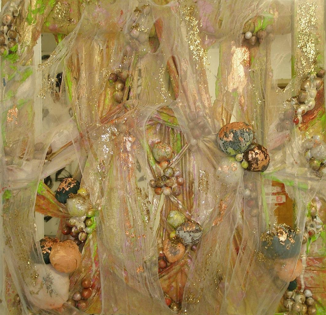 """2011, Golden Balls   24""""x24"""". Curtains, lace, acorns, plastic, acrylic paint, spray paint, gold leaf."""