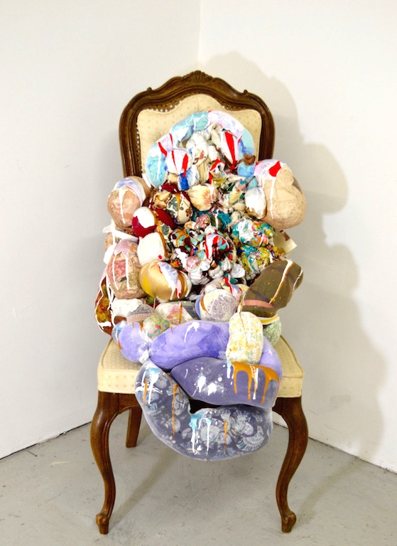 2015,  Untitled    Hang In There  sculpture sitting on found chair.