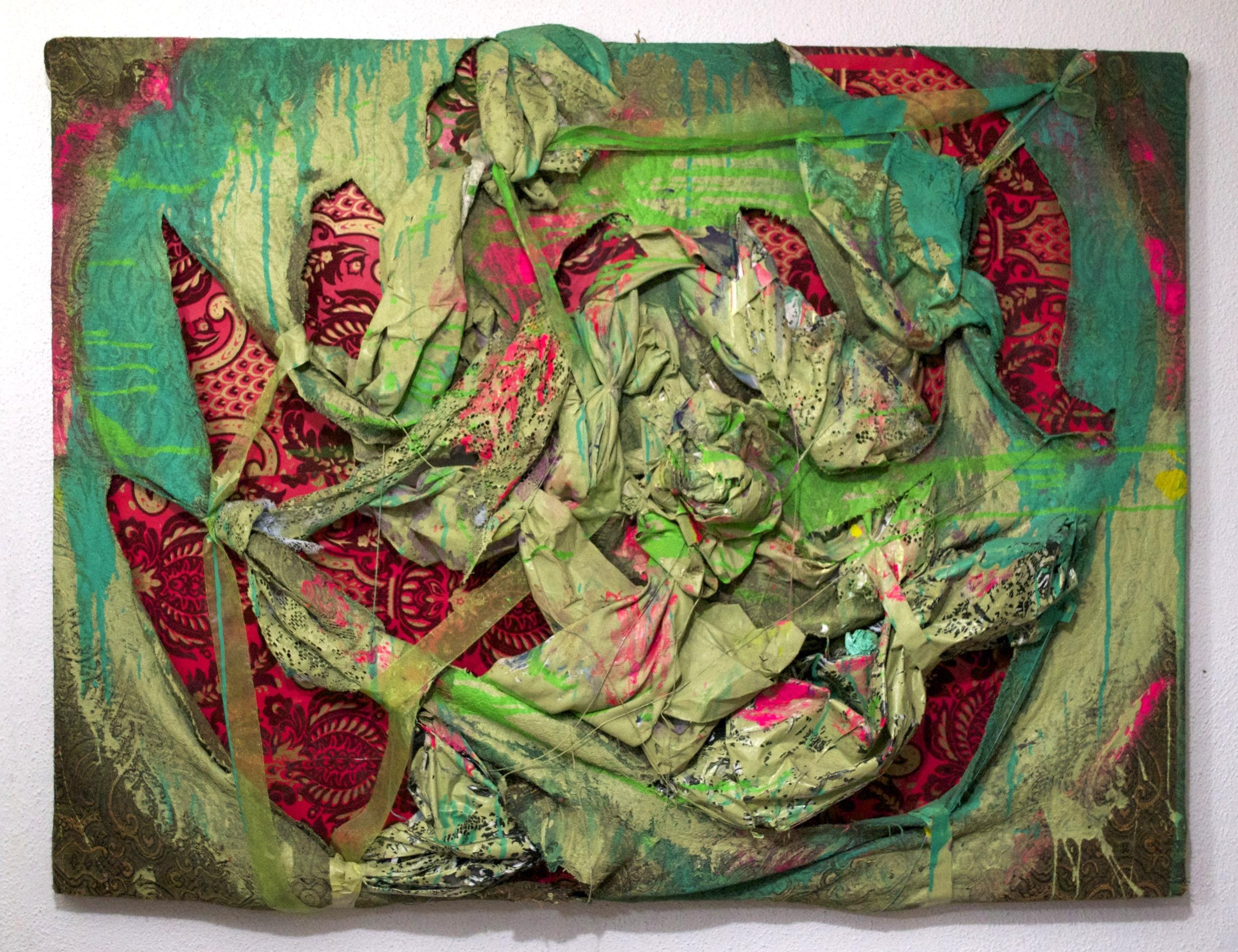 "2010, Facades   36""x40"". House paint, velvet flocked damask wallpaper, ribbon, plastic umbrella, lace and upholstery."