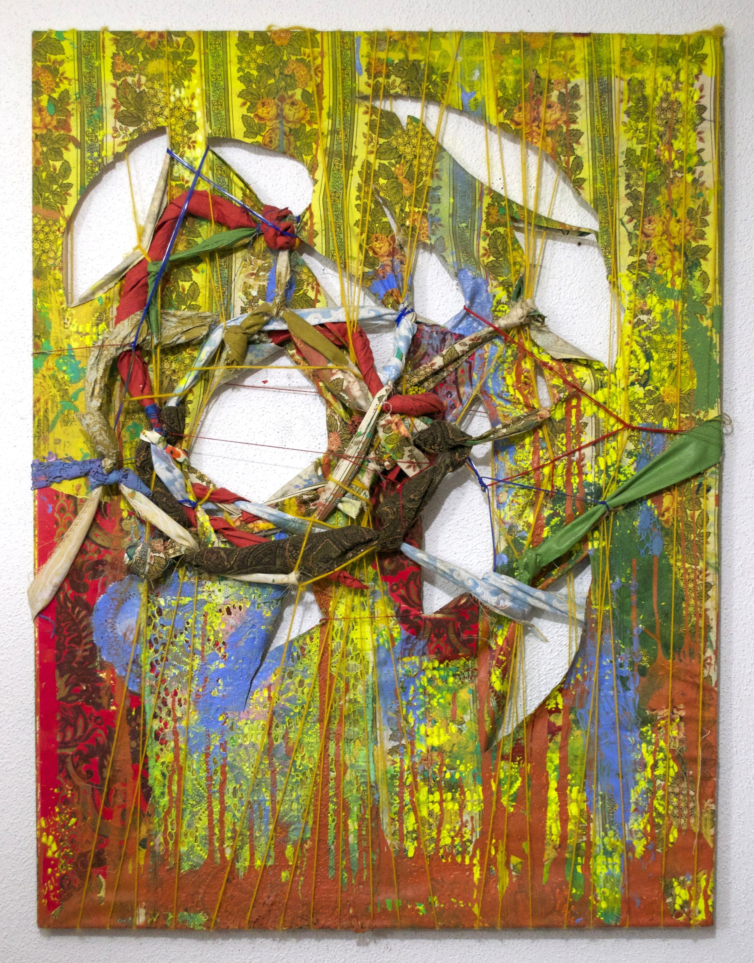 "2011,  Grandma's House   40""x30"". Curtains, yarn, decorative paper, acrylic paint, velvet flocked damask wallpaper, lace, yarn."