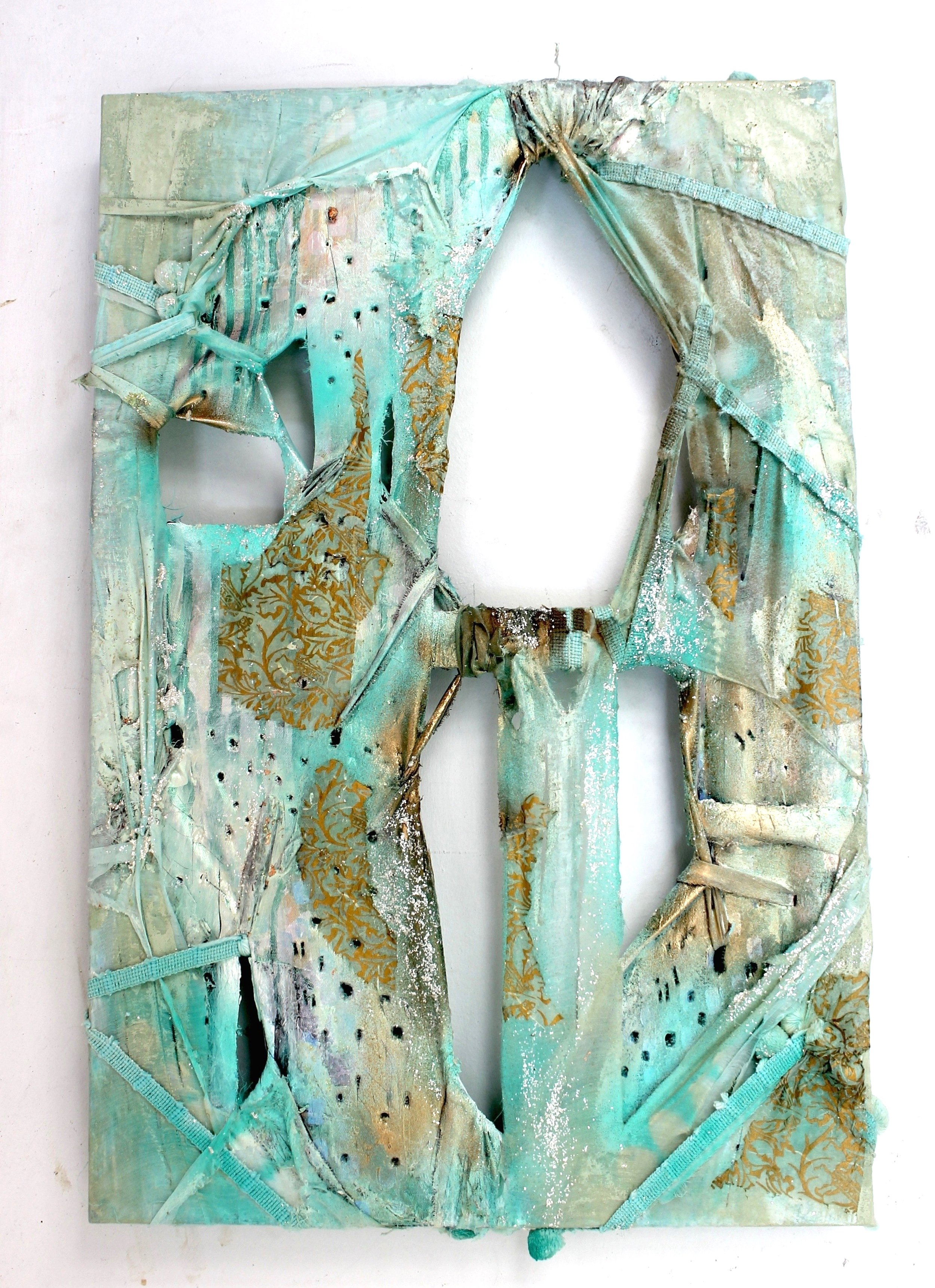 """2013, Rain Song  (sold)  36""""x24"""". Lace, curtains, decorative paper, decorative pom-poms trim from curtains, acrylic paint."""