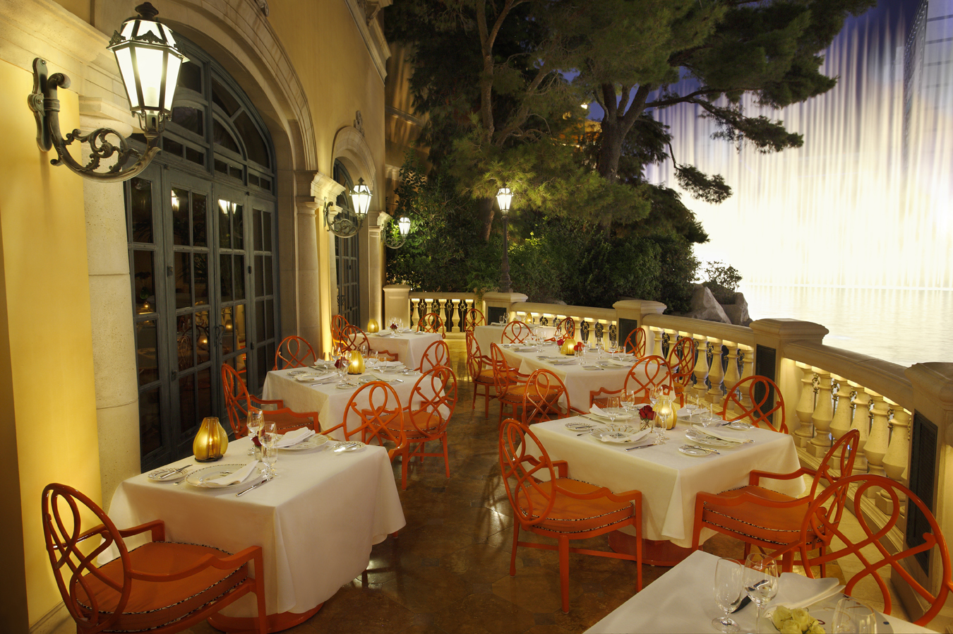 The patio at Picasso restaurant, winner of 2 Michelin stars and an incredible view