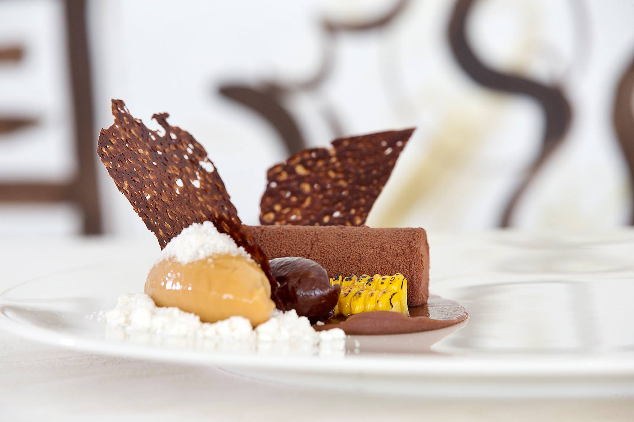 Chocolate course with grilled corn