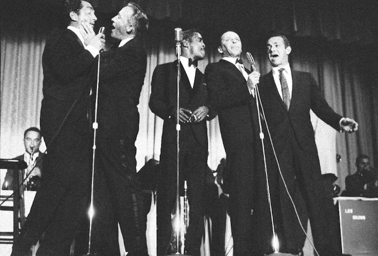 From left, Dean Martin, Bing Crosby, Sammy Davis, Jr., Frank Sinatra, and Jack Carter perform at the Riviera in Palm Springs.PHOTO COURTESY OF PALMS SPRINGS LIFE ARCHIVES