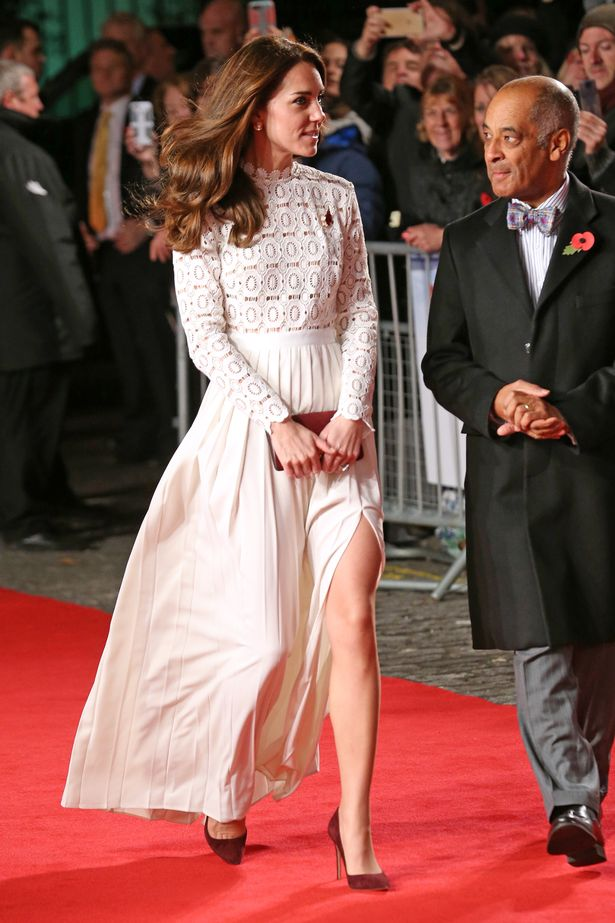 Kate Middleton in a white lace dress by Self Portrait on November 3 at a movie premiere.