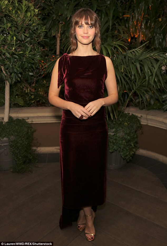 Felicity Jones in a wine-coloured Dior at the 23rd Annual Elle Women in Hollywood Event