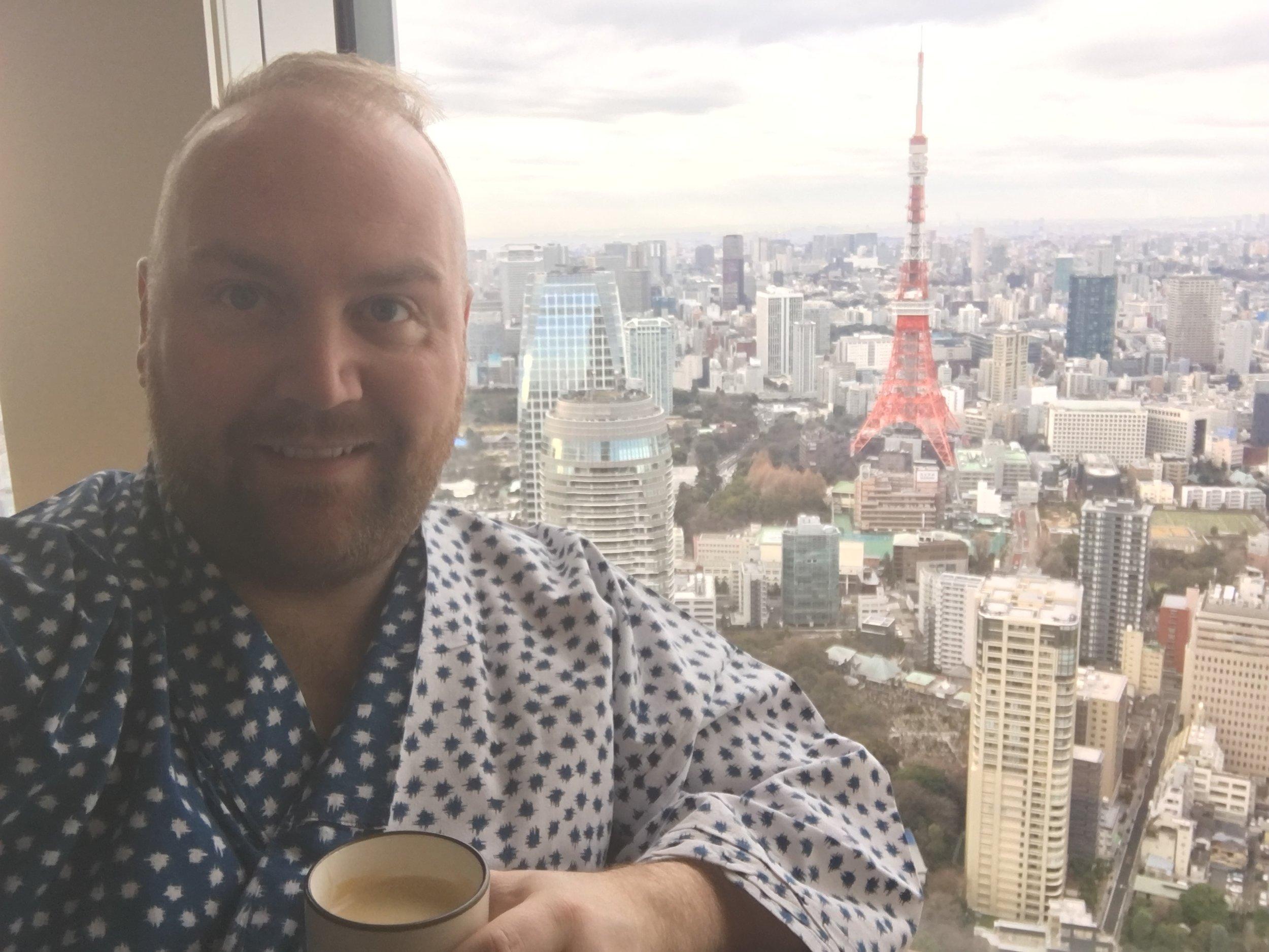 Enjoying my morning coffee in the hotel robe