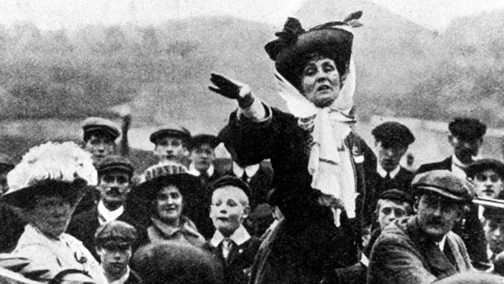 Figurehead:  Emmeline Pankhurst making an  open air speech   Credit:Getty Images