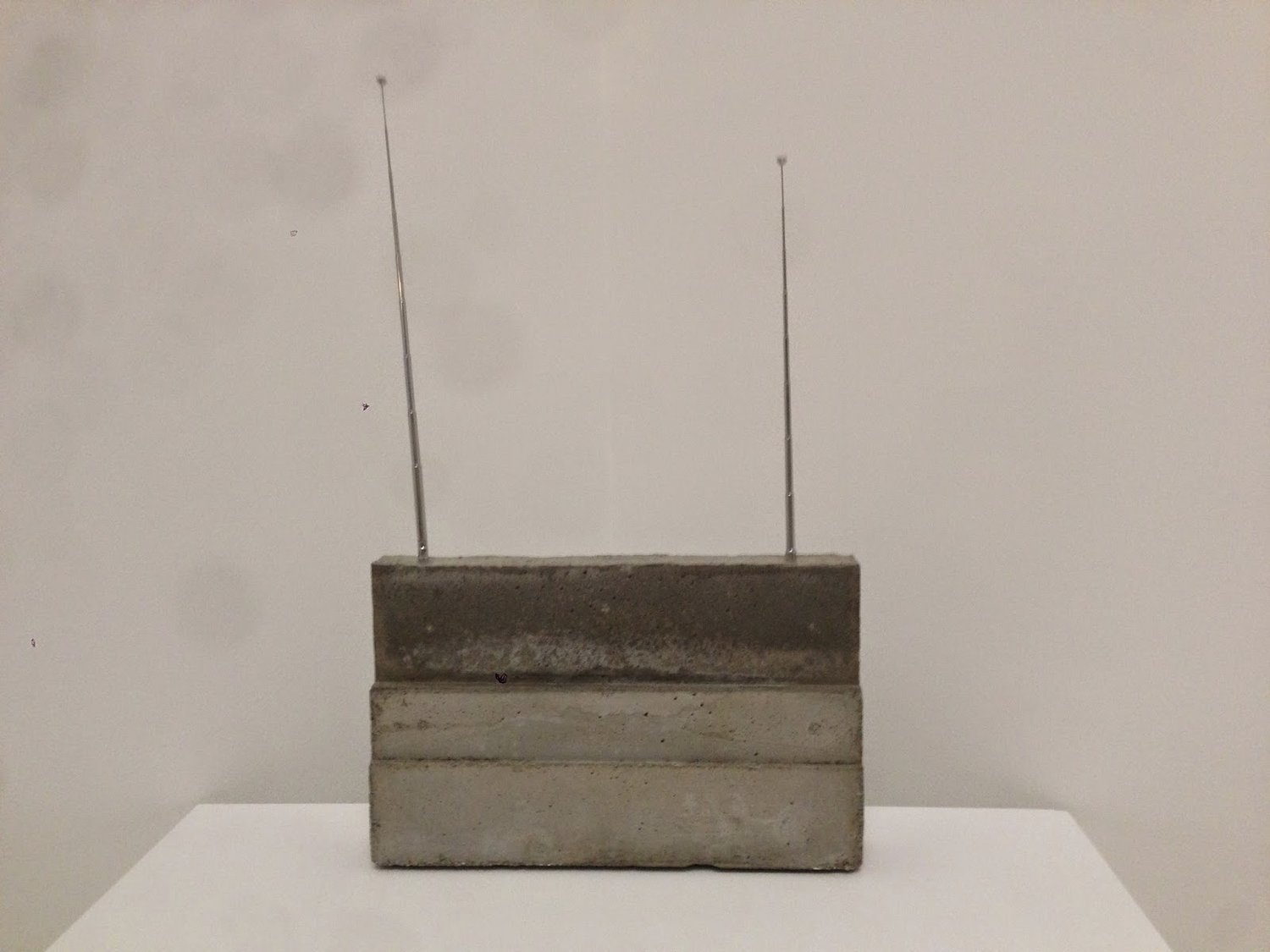 "Isa Genzken  World Receiver  1987-89, Concrete, steel, and metal radio antennas. Overall: 84 5⁄8 x 102 3⁄8 x 15 3⁄4"" (215 x 260 x 40 cm)."
