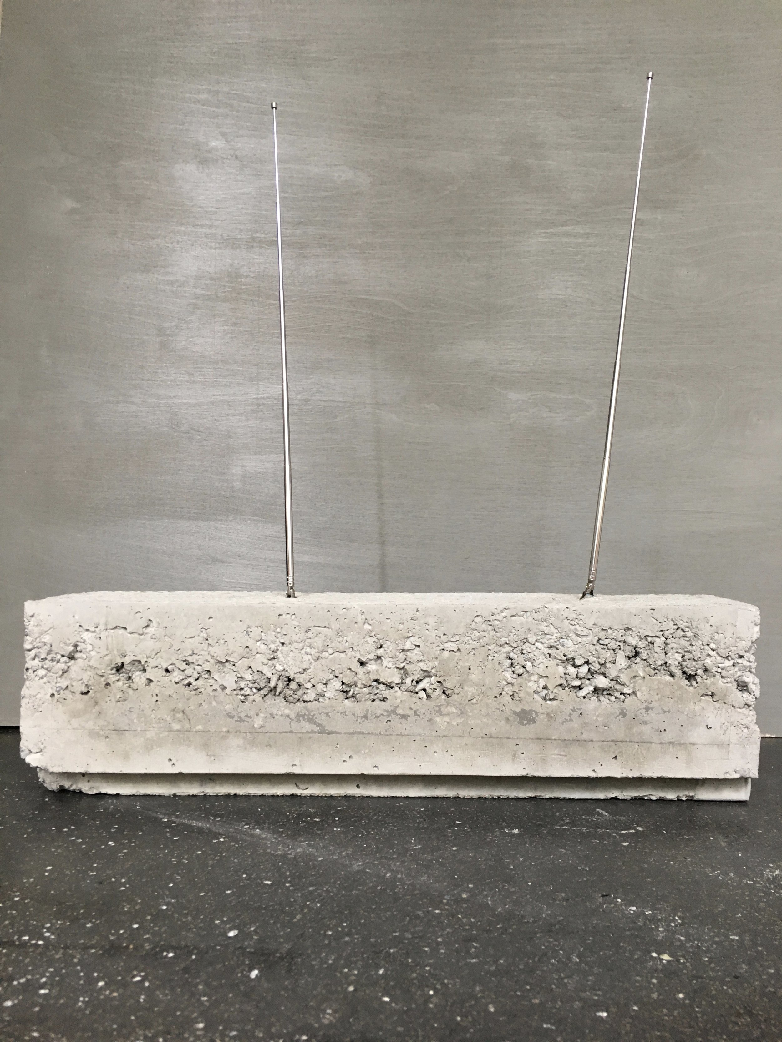 "T. Wheeler  2017, Concrete, Antennas, 6"" x 6"" x 18"" (approx)   The Novotny Collection"