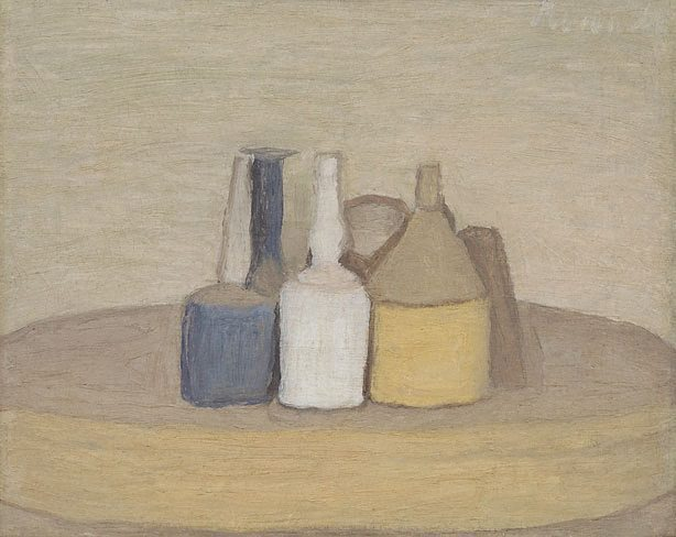 Natura Morta  , Giorgio Morandi, 1947, Oil  35.2 x 44.8 cm; 61.2 x 70.8 x 4.8 cm frame  The canvas was prepared with a white ground layer and an underdrawing made with graphite is visible around the central vase. The oil paint was then applied in thin layers, wet on wet, with lively brushstrokes. The painting has a wooden frame with gilded details. In 1947 a photograph of the painting was sent to Tate that shows an inscription on the reverse of the frame detailing the painting's title in Italian ('Natura morta') and the year it was made (see Alley 1981, p.540).