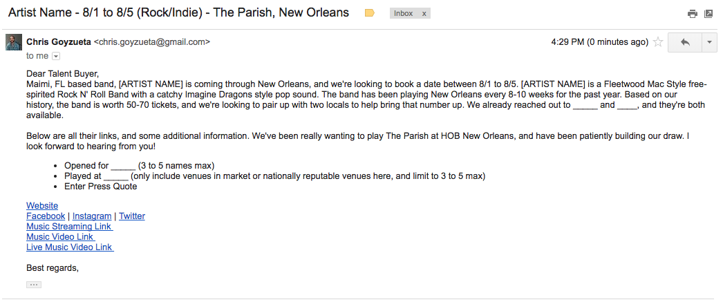 Sample Pitch Email