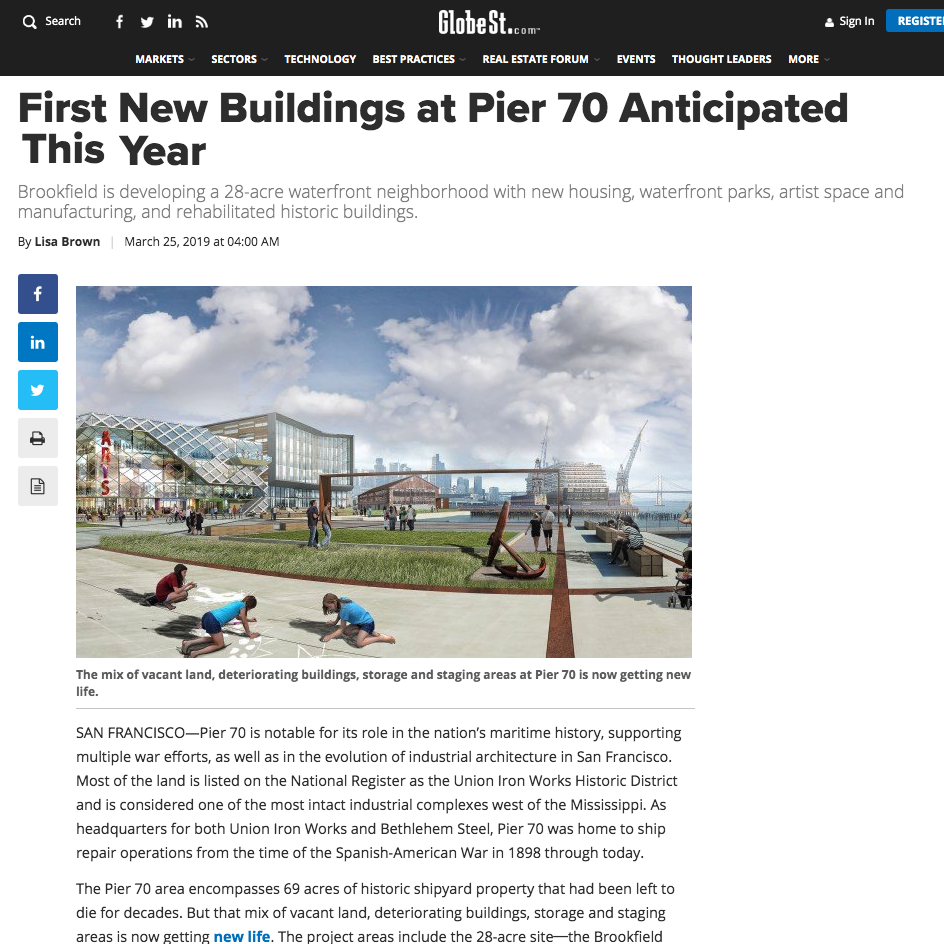 "GlobeSt.com article on pier 70's process and construction update - March 25, 2019""We build consensus to find solutions that can bridge the multiple competing demands of any urban project. And throughout the process, we kept checking back to ask: does this meet the identity?"" - Laura Crescimano"