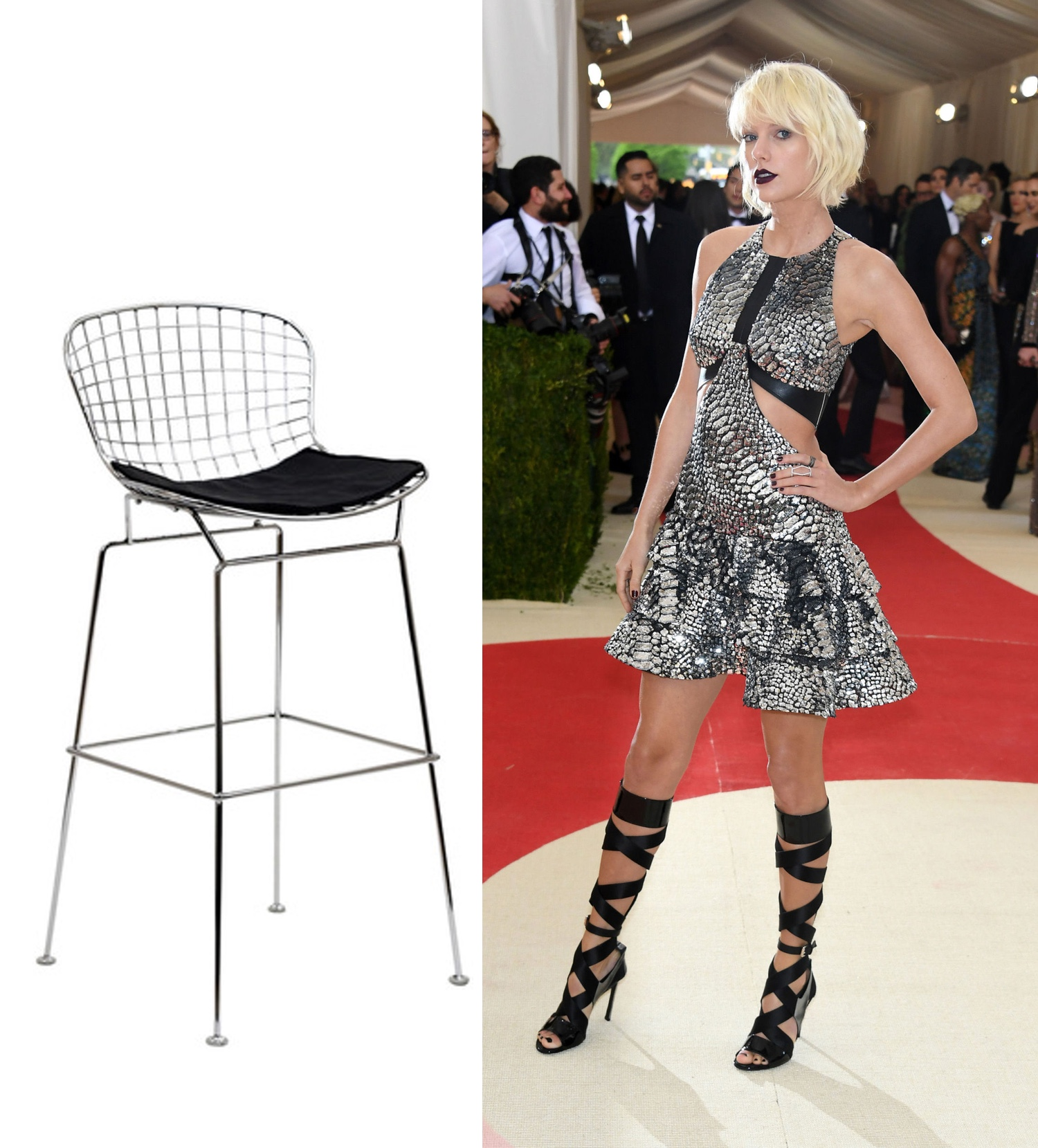 Black & Chrome Wire  Counter Stool  | Photo: @louisvuitton