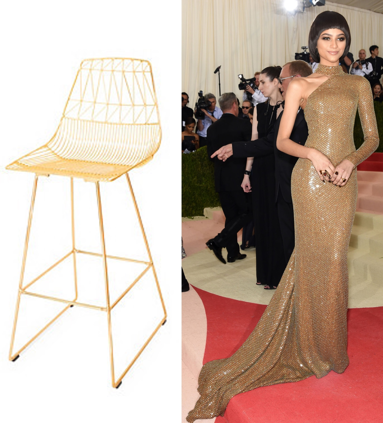 Gold Iron  Counter Stool  | Photo: @zendaya