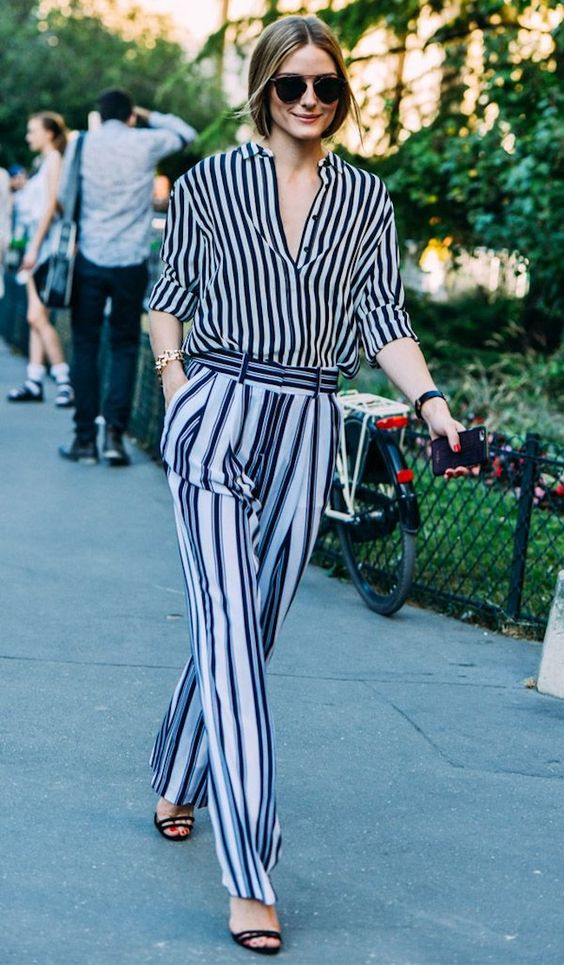 Striped long sleeve  Blouse  | Striped  Trousers  | Photo: Rise