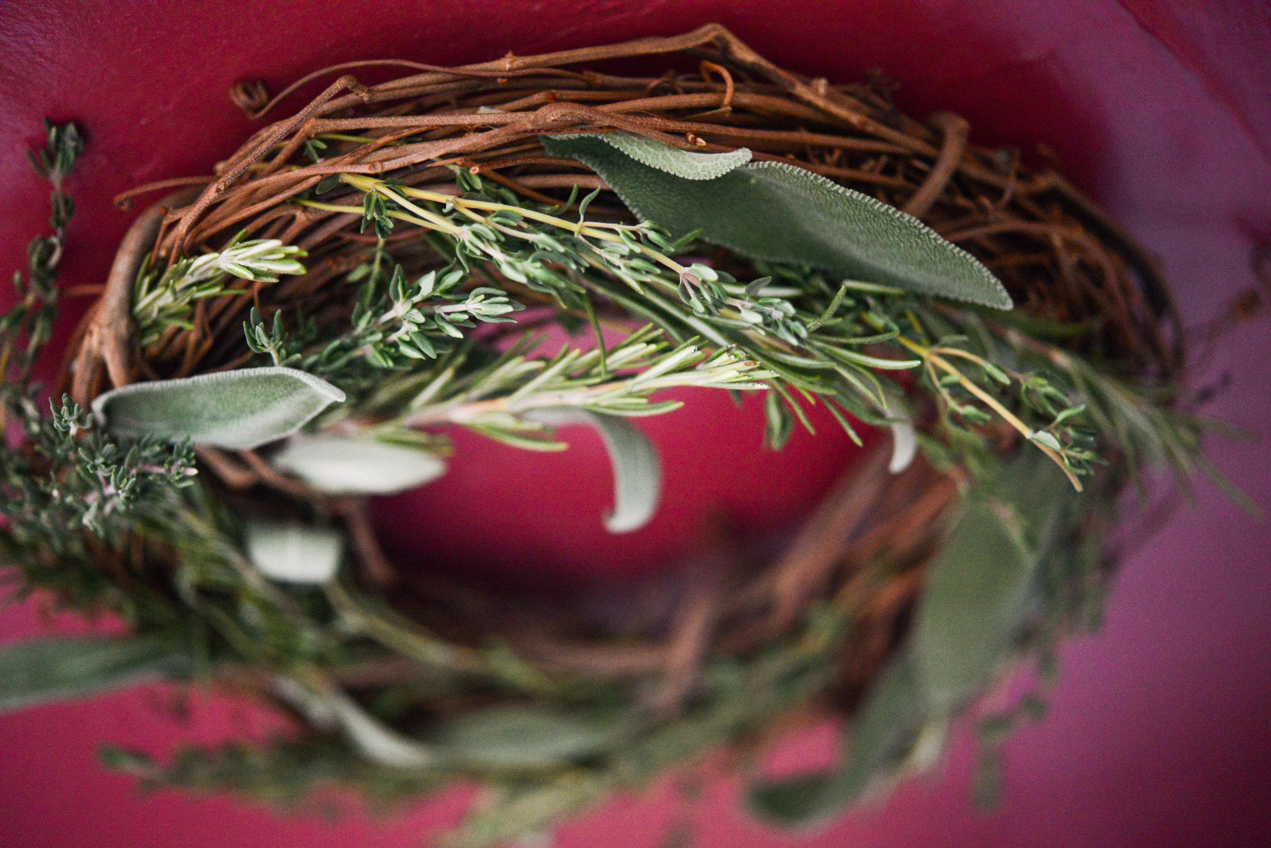 Fresh herb wreath