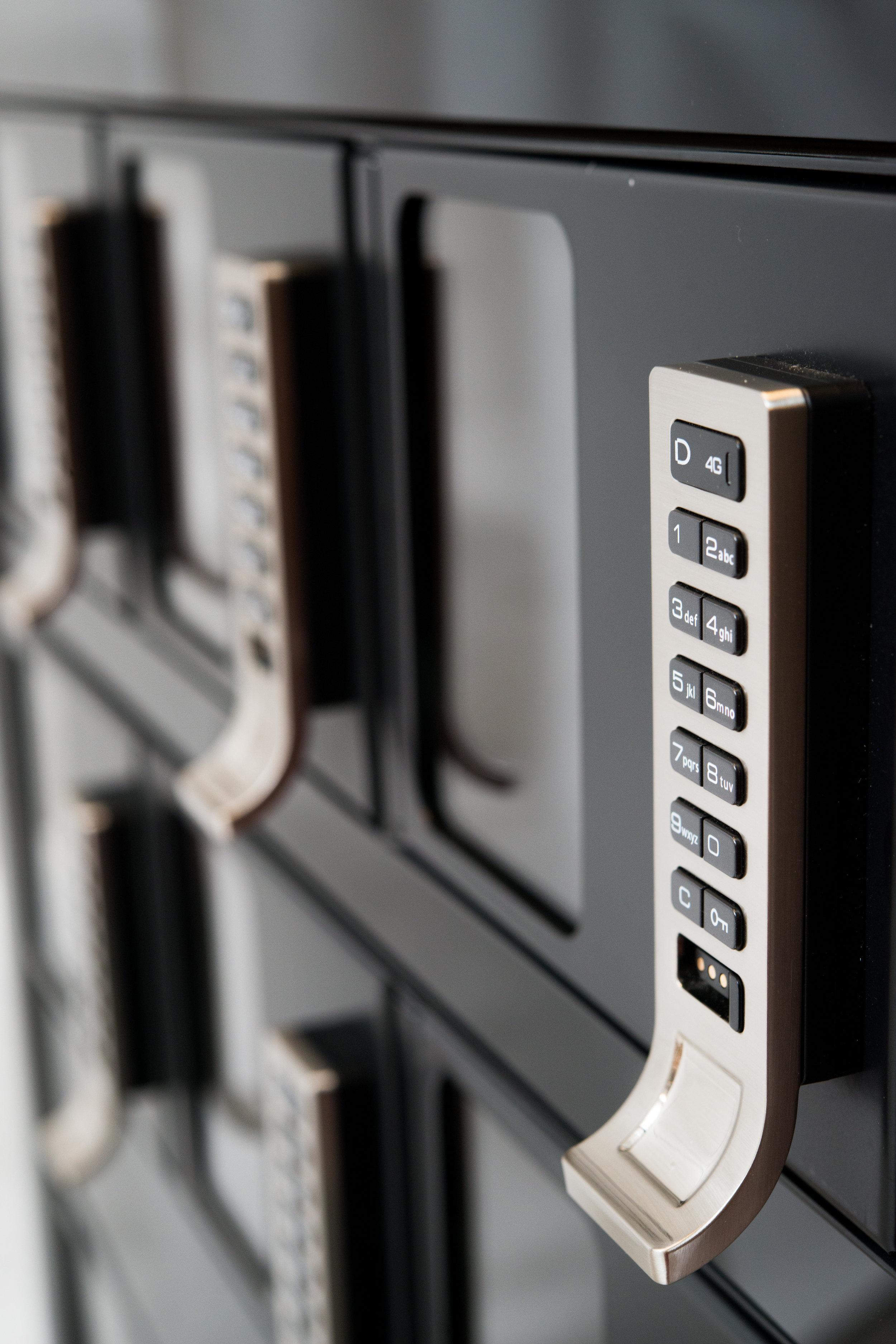 Close up of locker keypad