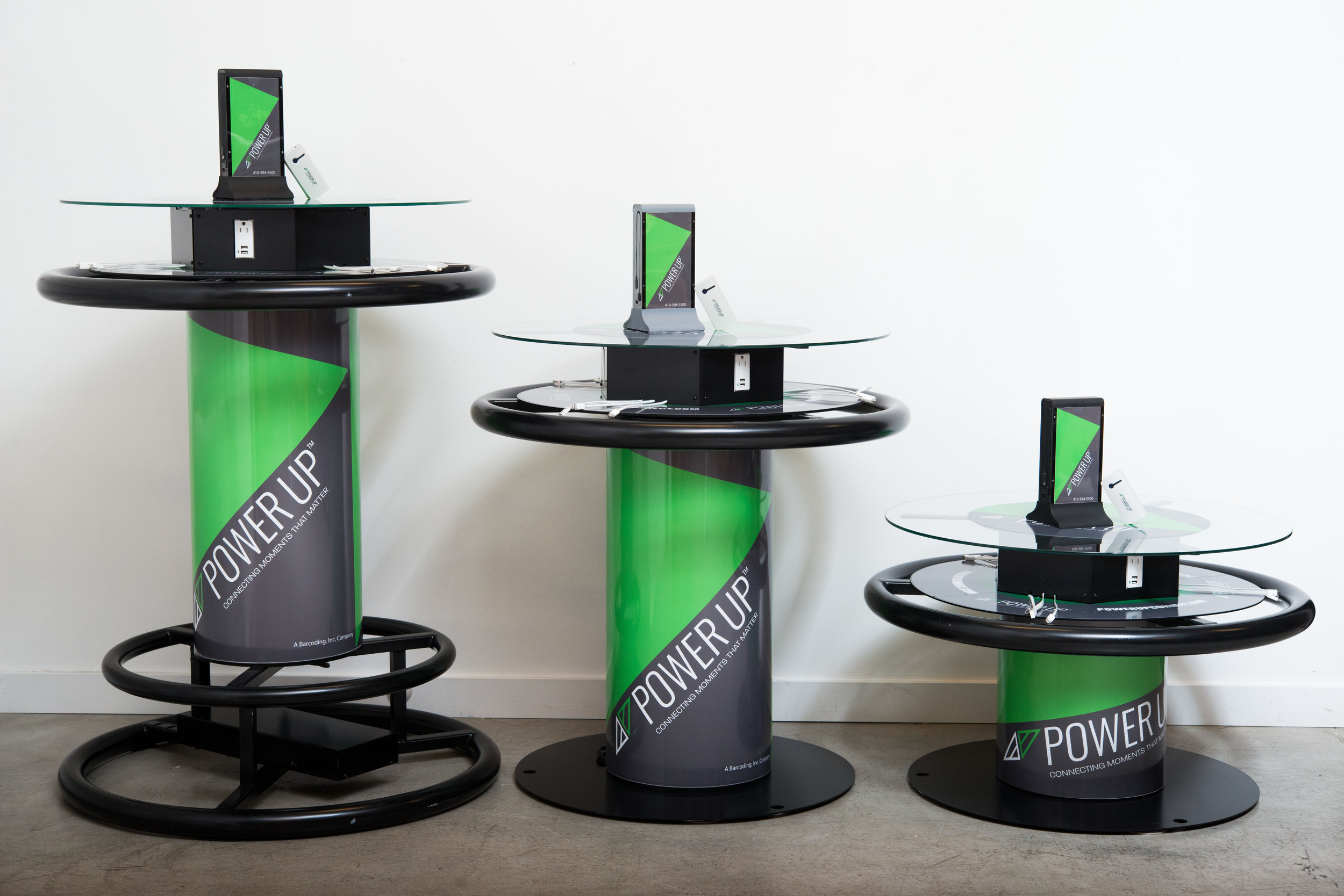 Mulitple sized charging tables