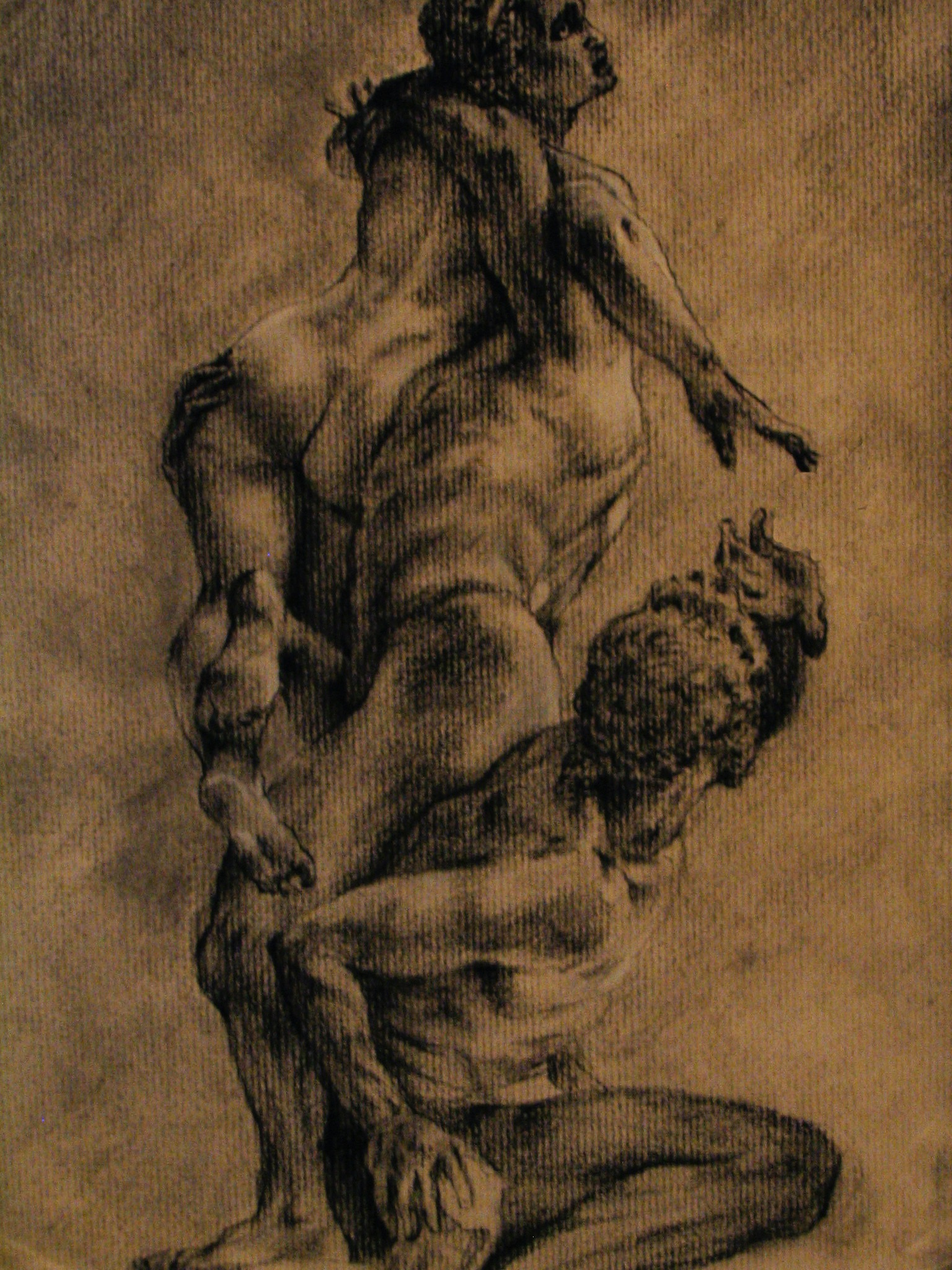 Giambologna, The Rape of the Sabine - Loggia Dei Lanzi, Florence   9 x 12  Charcoal on Paper  2007