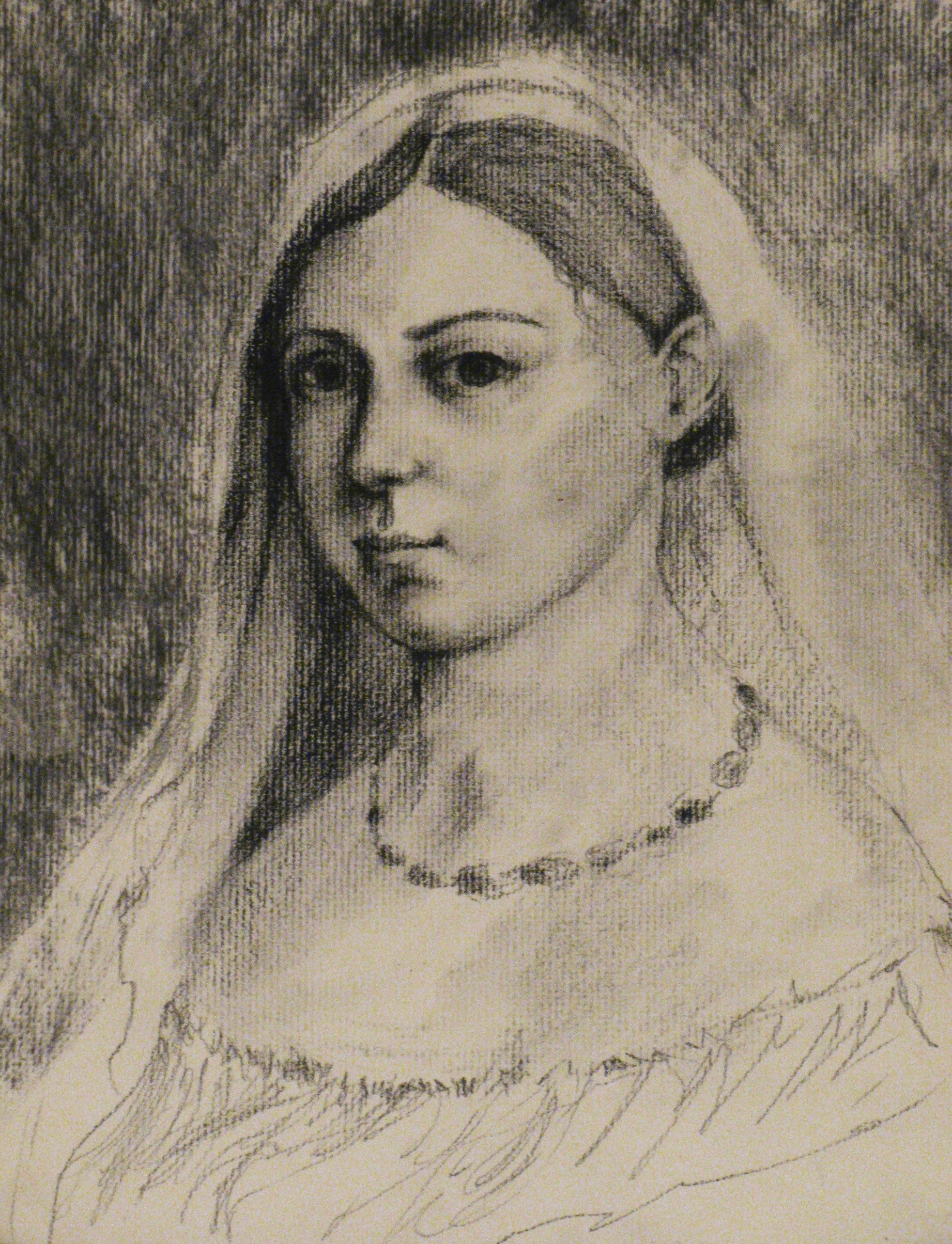 La Donna Velata, After Raphel   9 x 12  Charcoal on Paper  2007