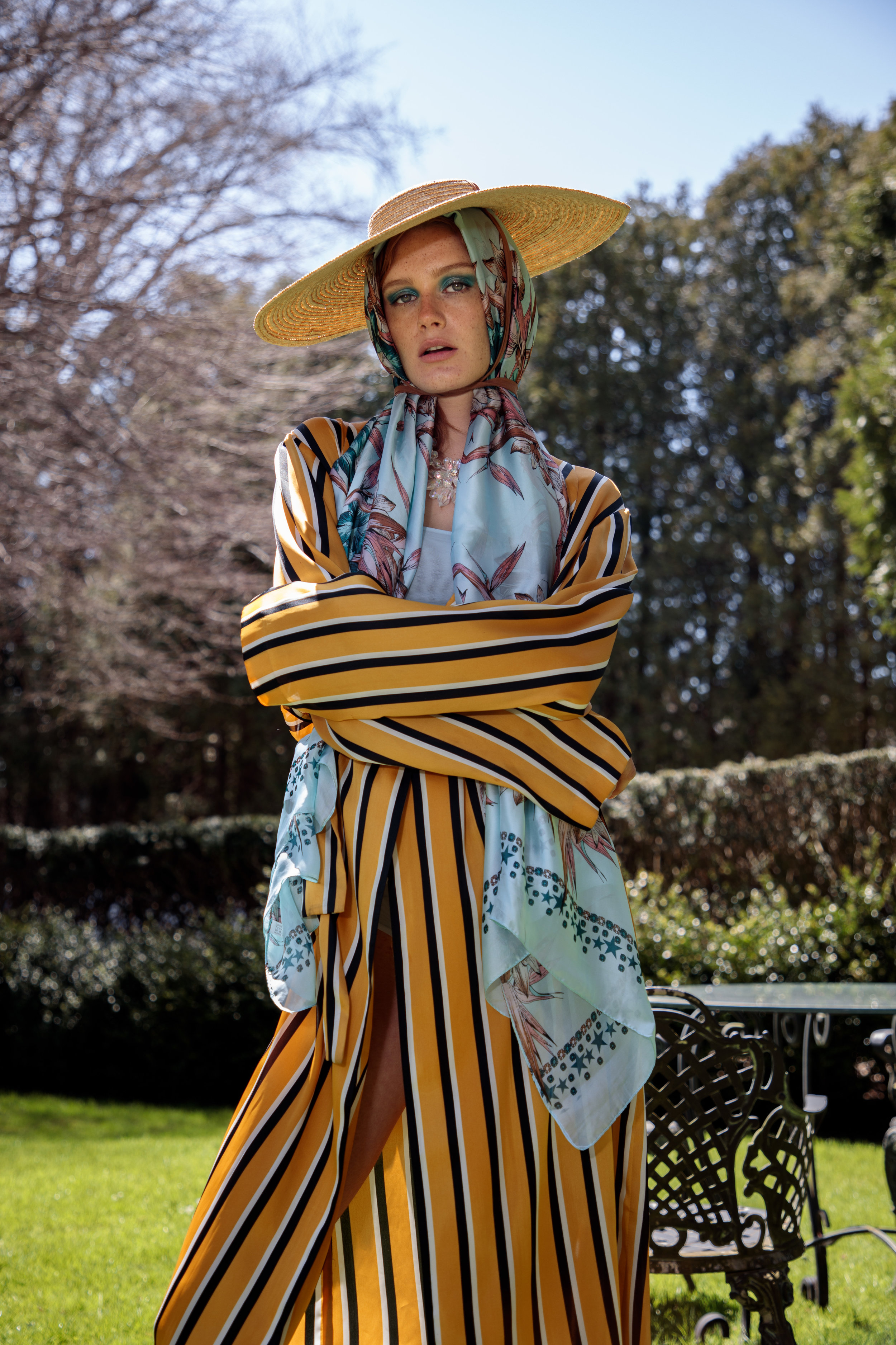 LUCY'S MAGAZINE - STORY [WEEKEND IN HAMPTON]'F.F.M.T. FEMME FATALE MEETS TOMBOY' SS18 CHAEnewyork Collection was featured on Lucy's Magazine- Yellow silk stripe robe