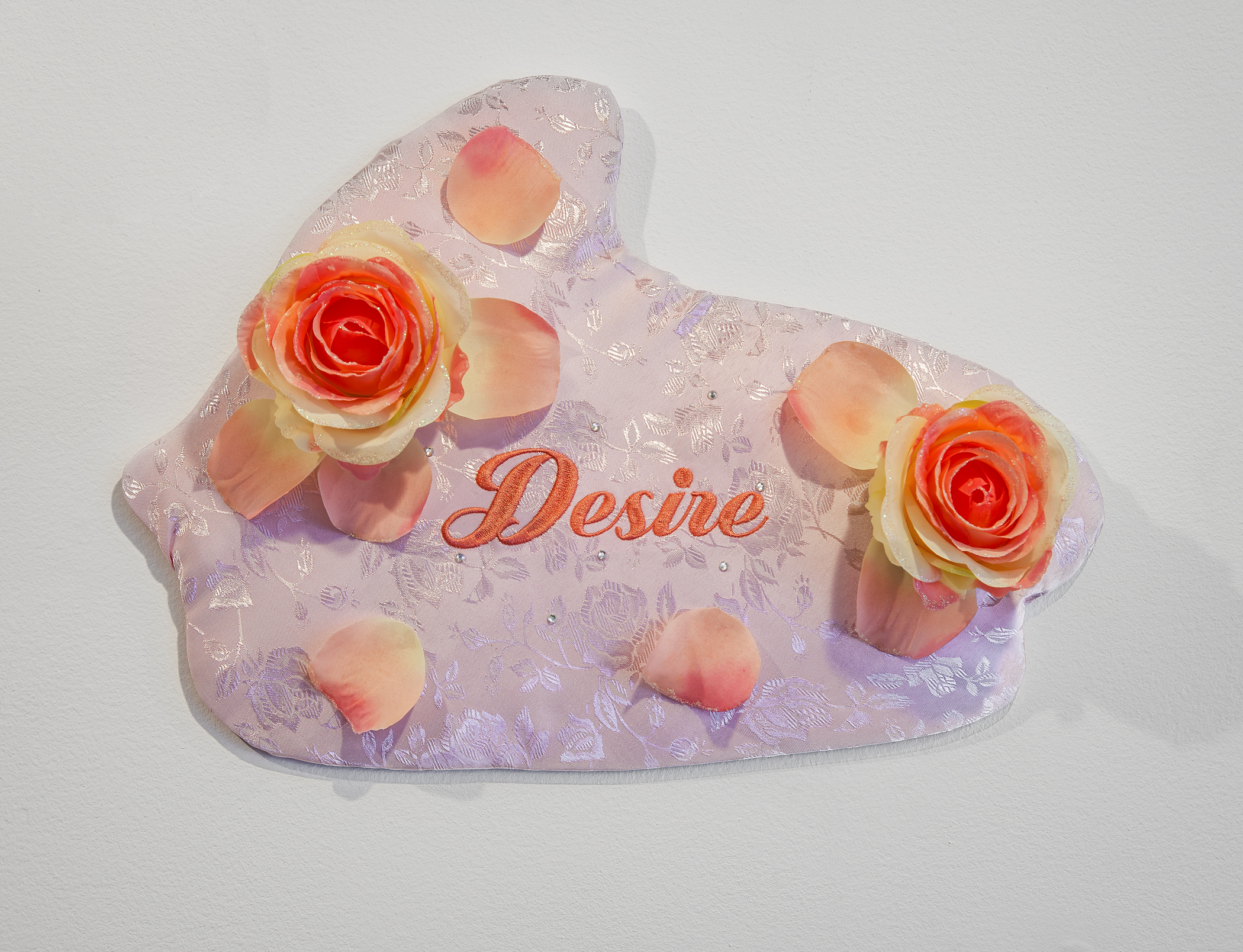 Desire 4   fabric, machine embroidery, rhinestones, poly-fill, fake roses, plywood
