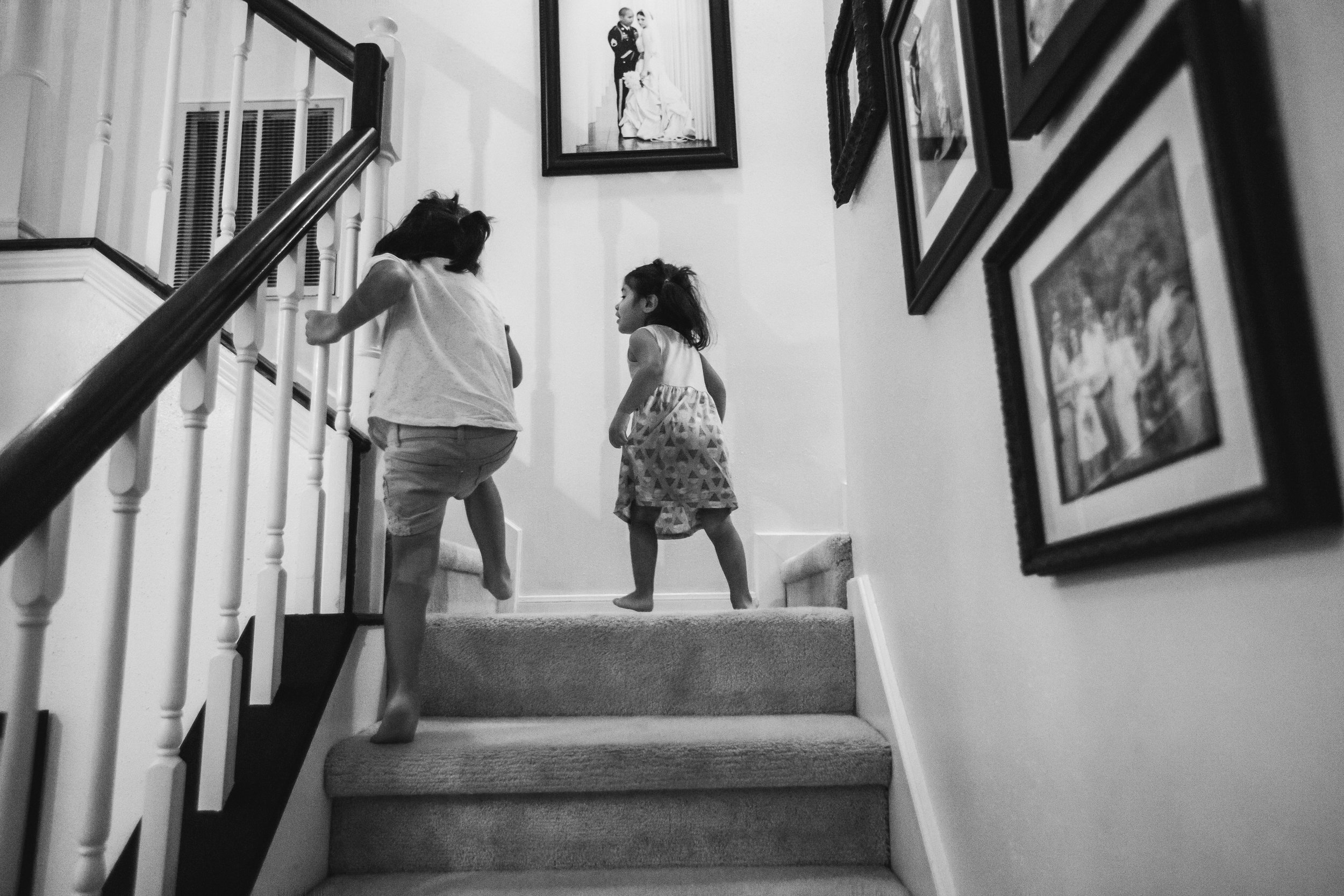 Little girls going up stairs