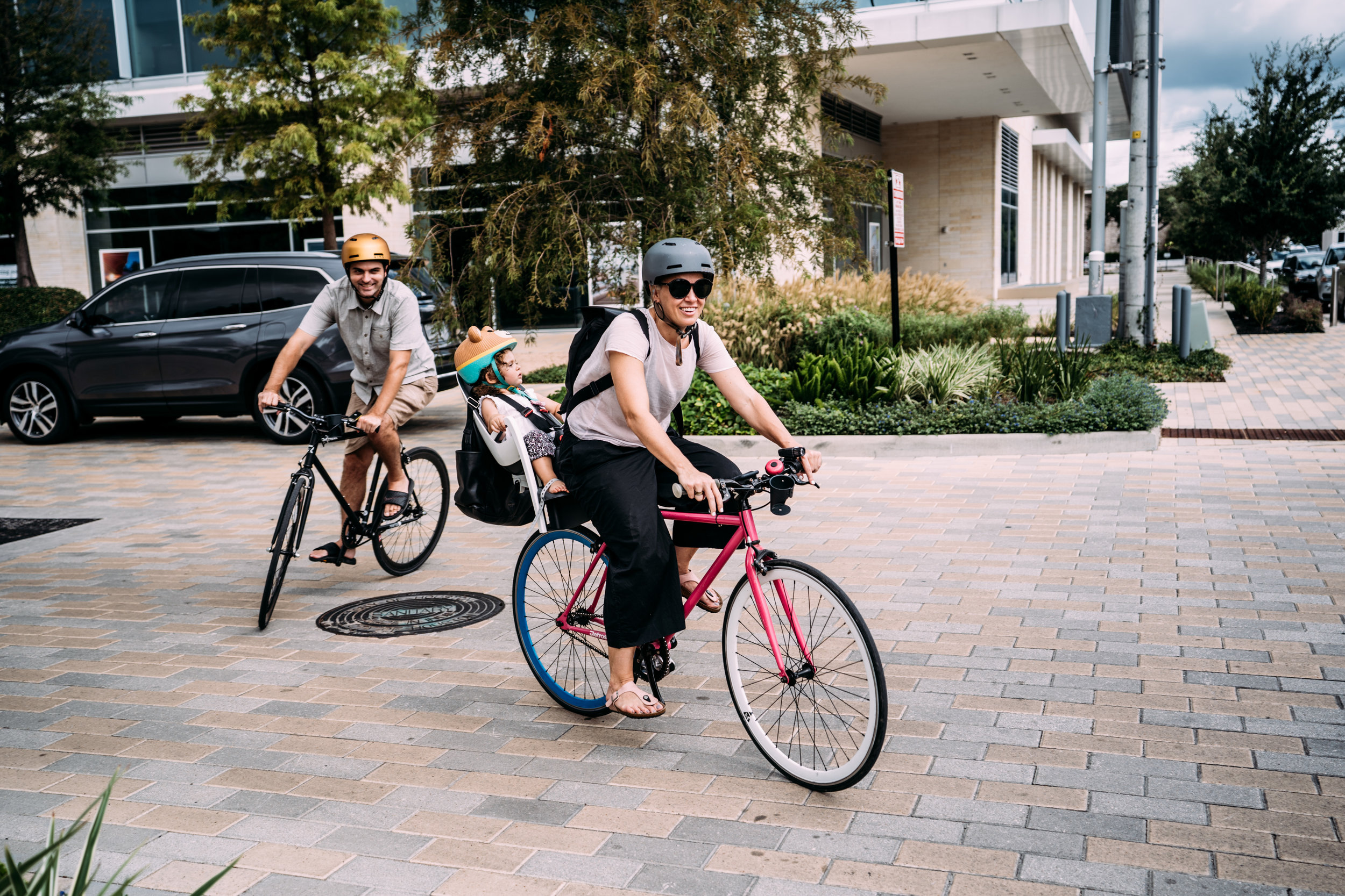 Family Bike Ride In the City