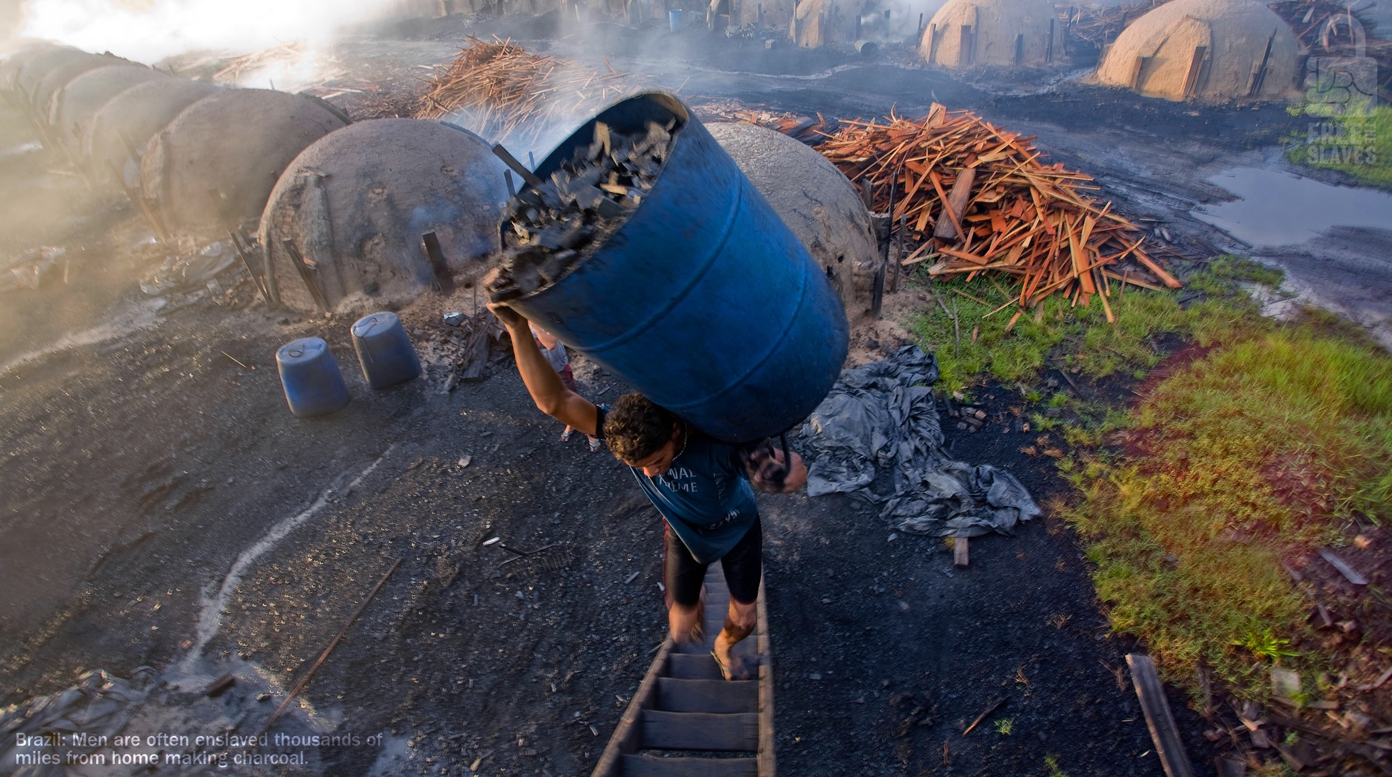 Men are enslaved thousands of miles away from home to make charcoal