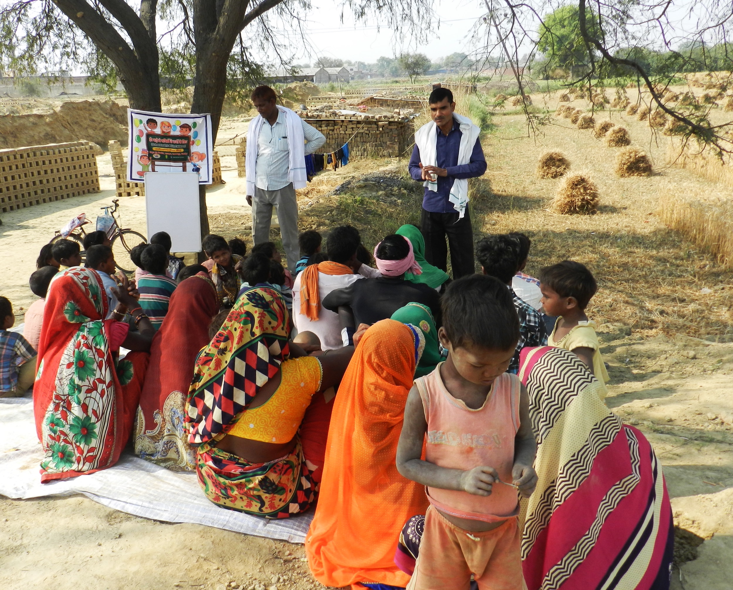 A training on rights for village workers.