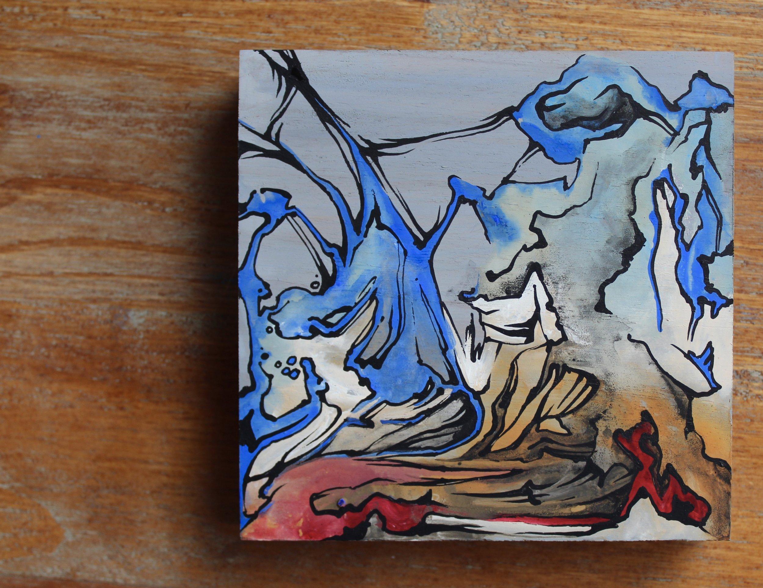 "Untitled, 5""x 5"" casein on teak wood"