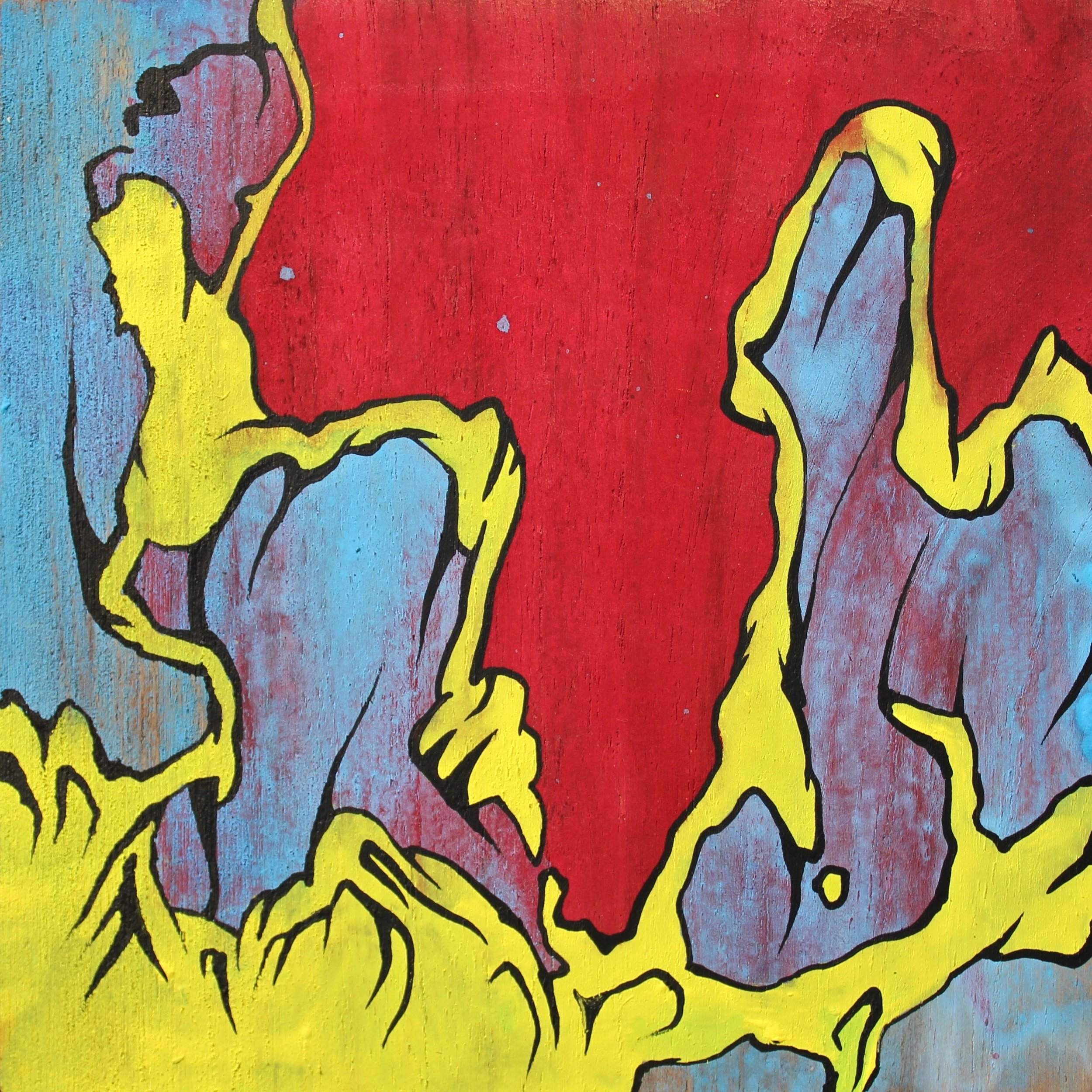 "The Yellow Dancer  casein and acrylic on teak wood Dimensions: 5"" x 5"" x 1"""