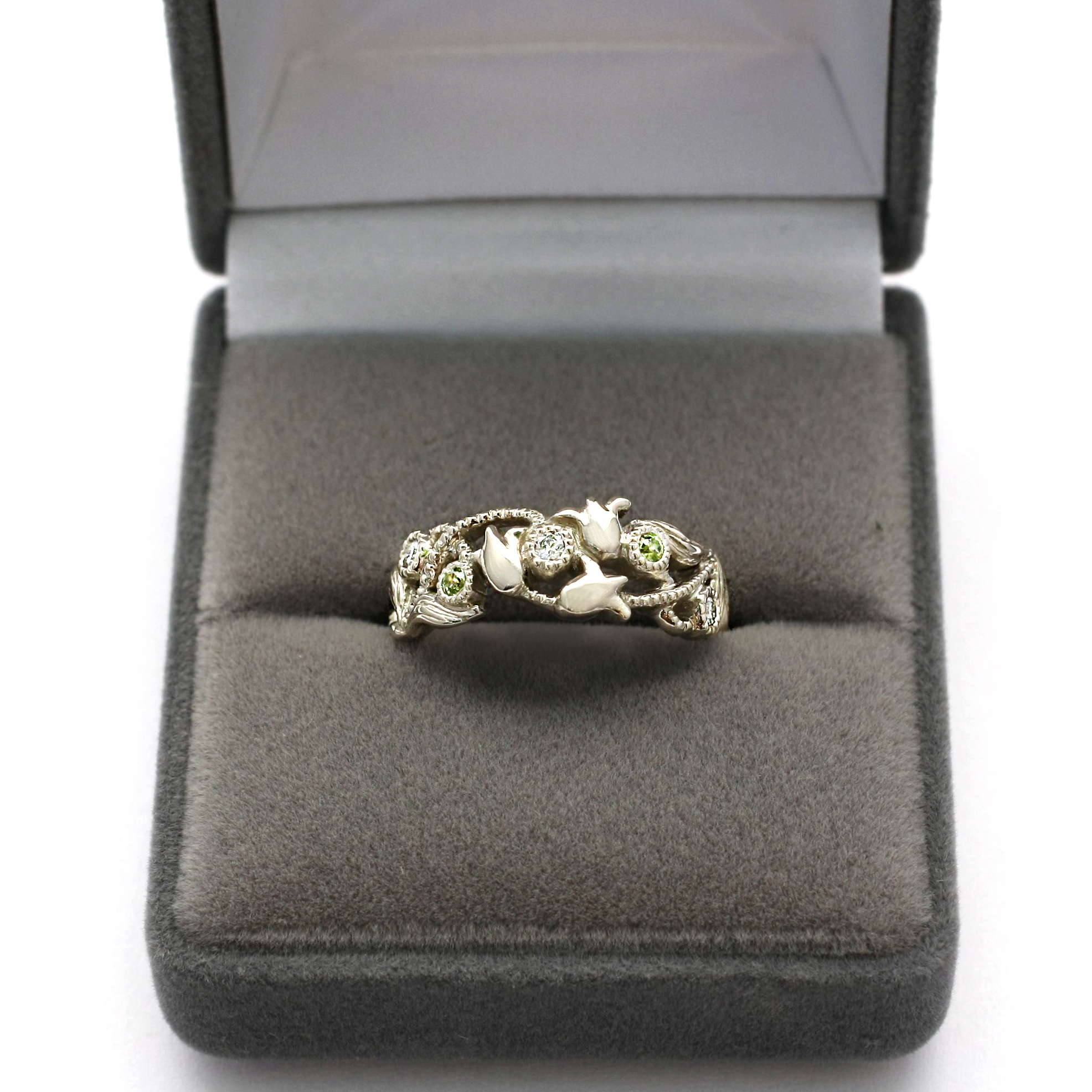 Art Nouveau Inspired Lily of the Valley Ring