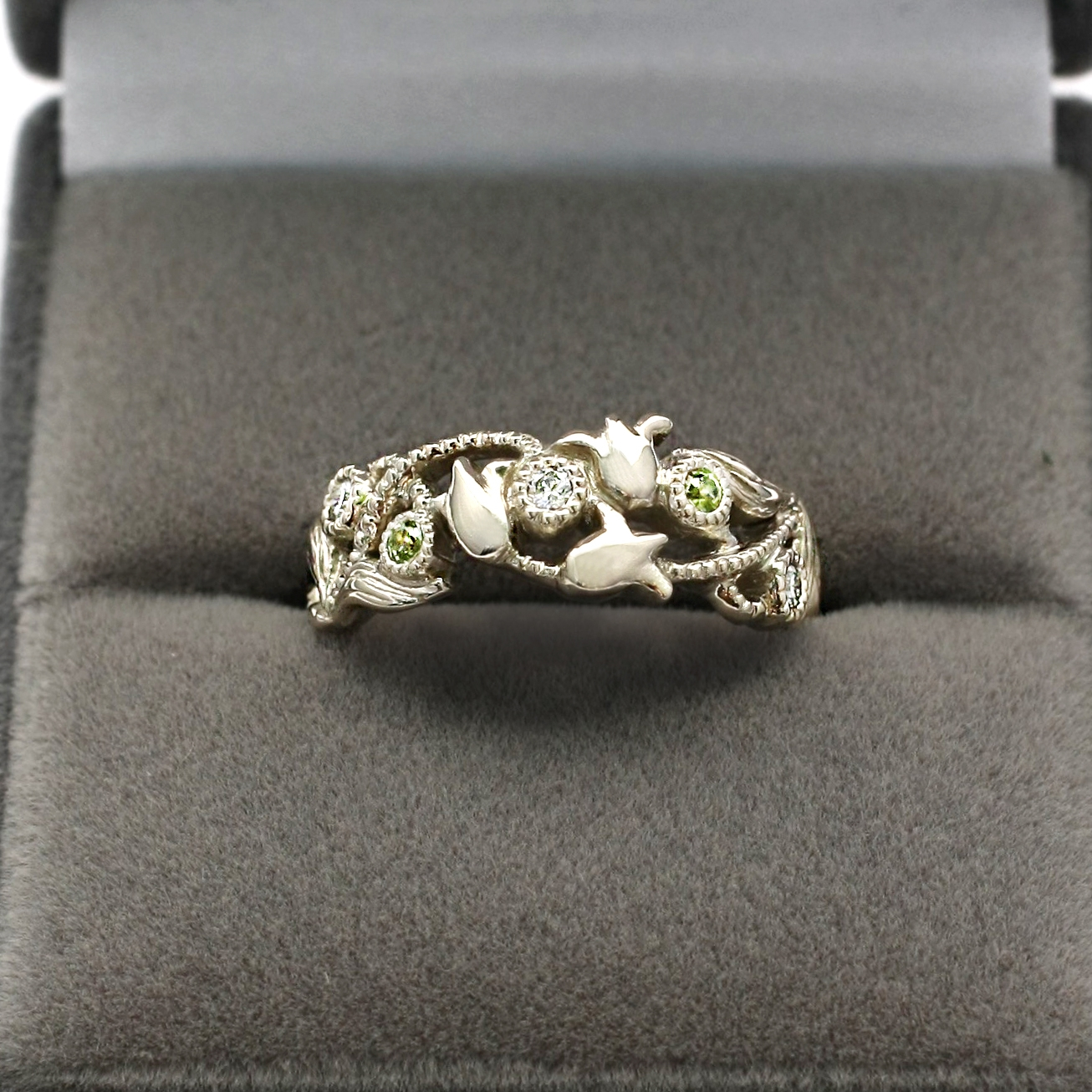 Art Nouveau Inspired Lily of the Valley Wedding Band