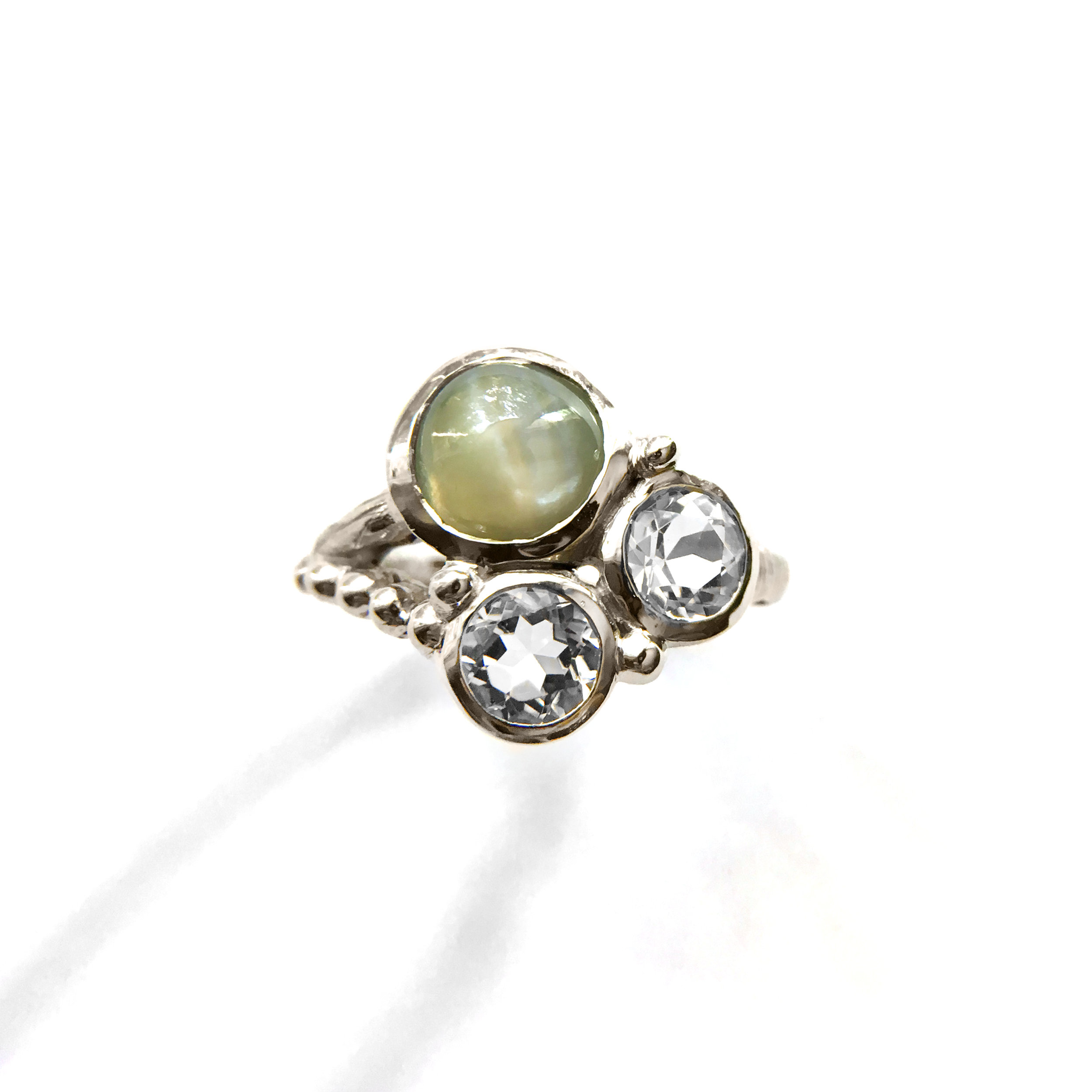 10K White Gold 3 Stones Ring