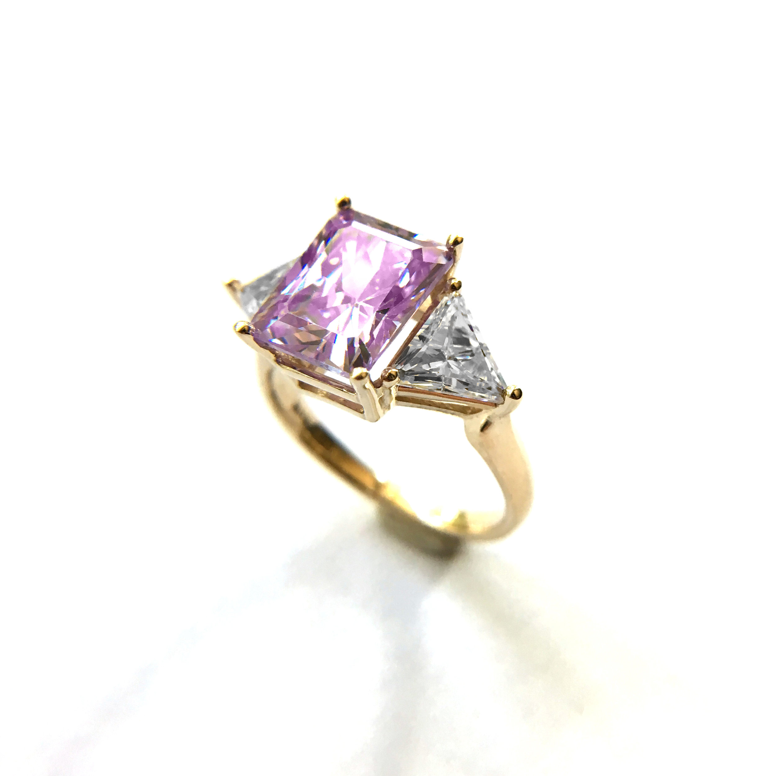 14k Yellow Gold Art Deco 3 Stone Engagement Ring