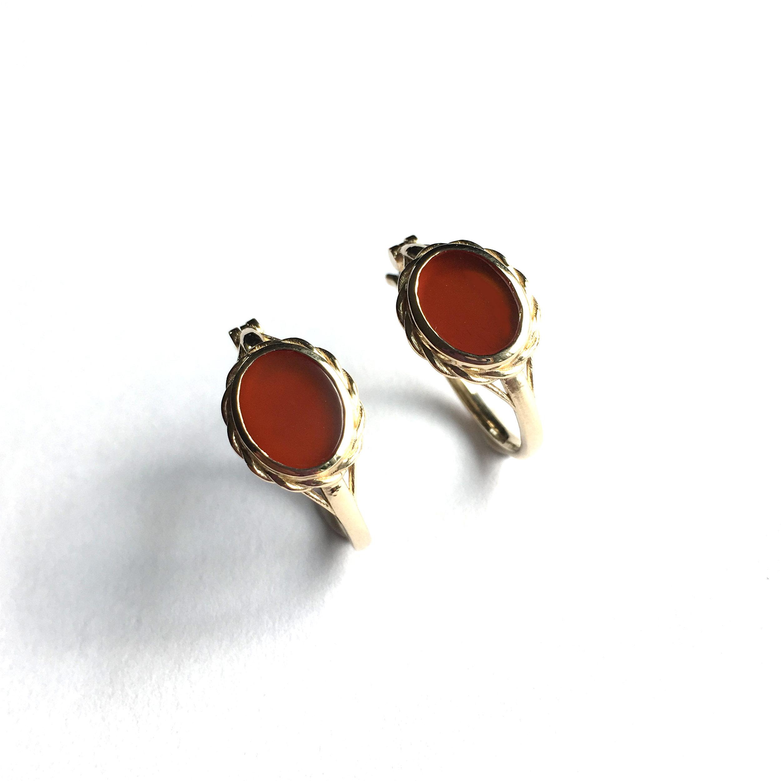 14ky Carnelian hoop earrings