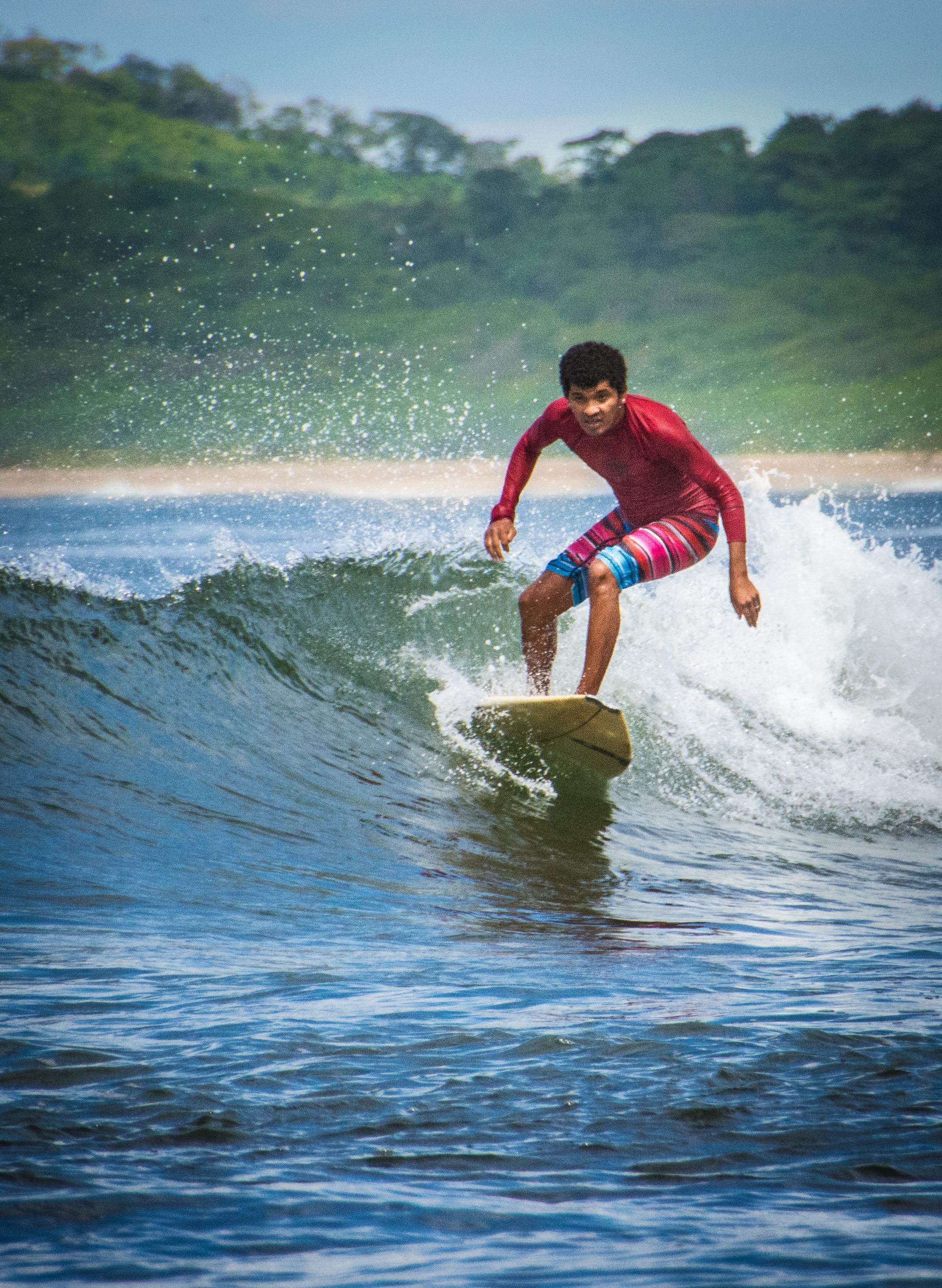 Surfing in Tamarindo, Costa Rica.