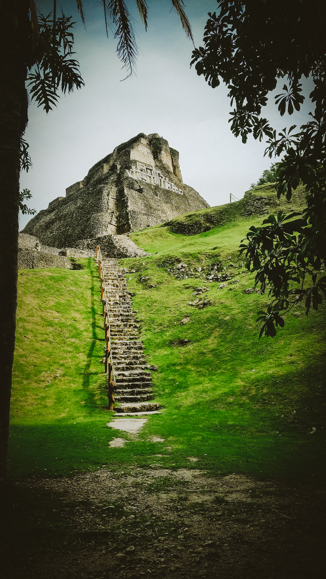 Looking up to the ruins at Xunantunich.