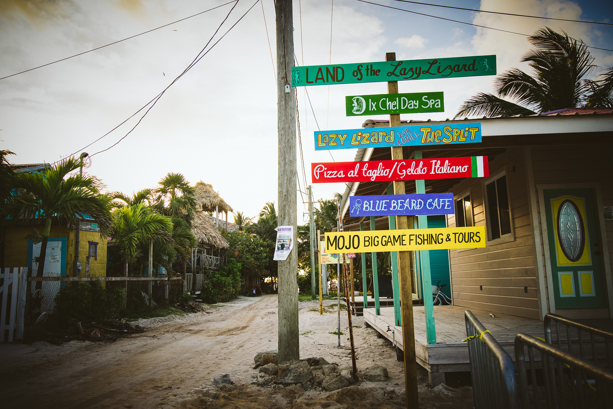 Land of the  Lazy Lizard  at the far end of the inhabited part of Caye Caulker.