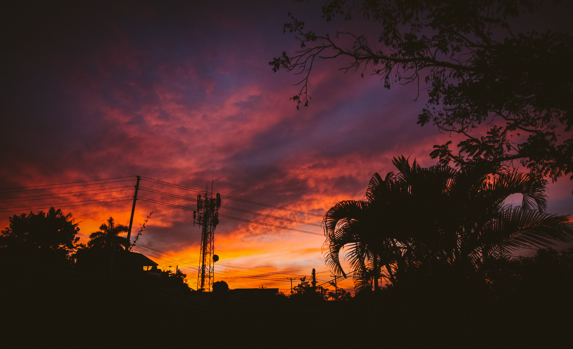The most colourful sunset in Belize was viewed from the tiny garden at our hotel in San Ignacio.