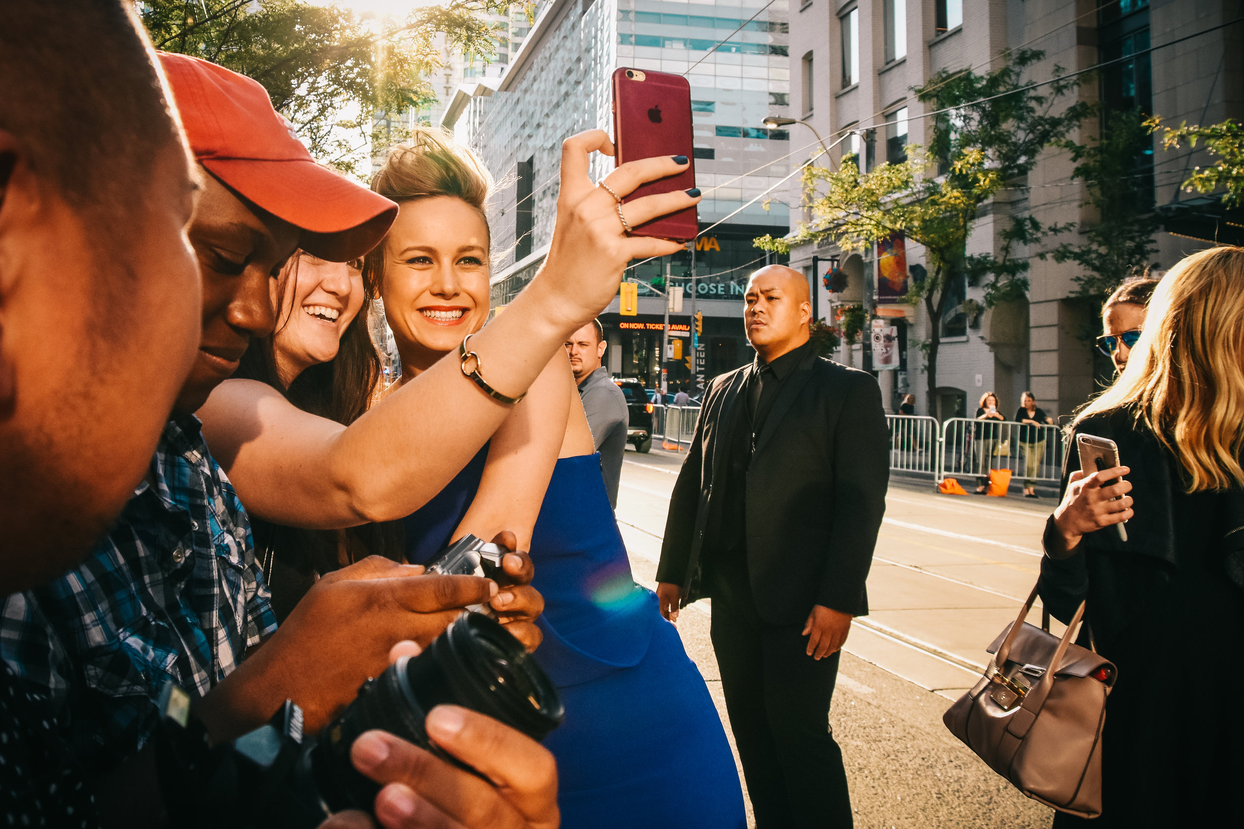 The lovely and kind Brie Larson poses with fans for selfies prior to the screening of the Oscar-winning film  Room .