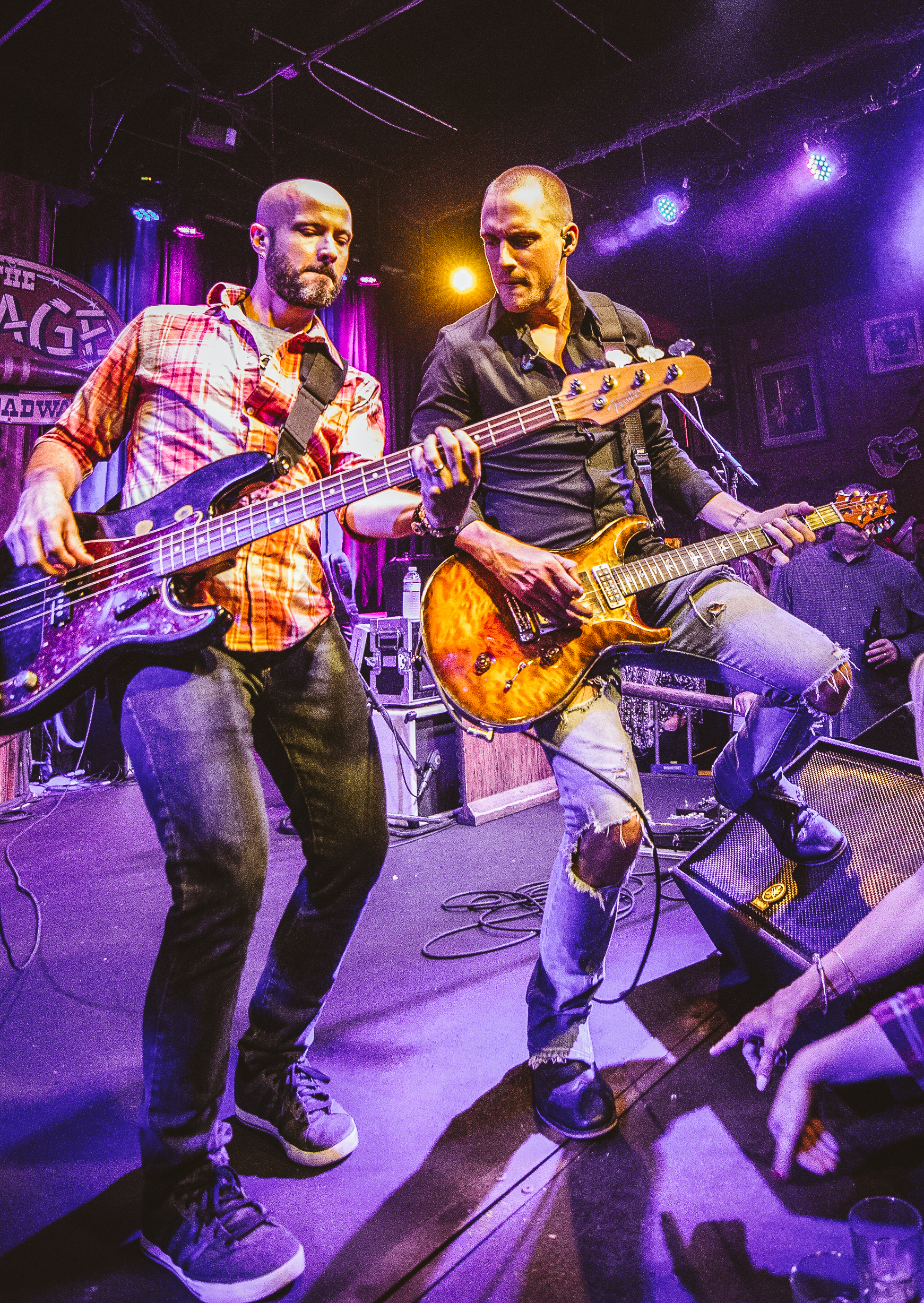 Bassist & guitarist jam out in the Jerry Jacobs Band at the Stage.