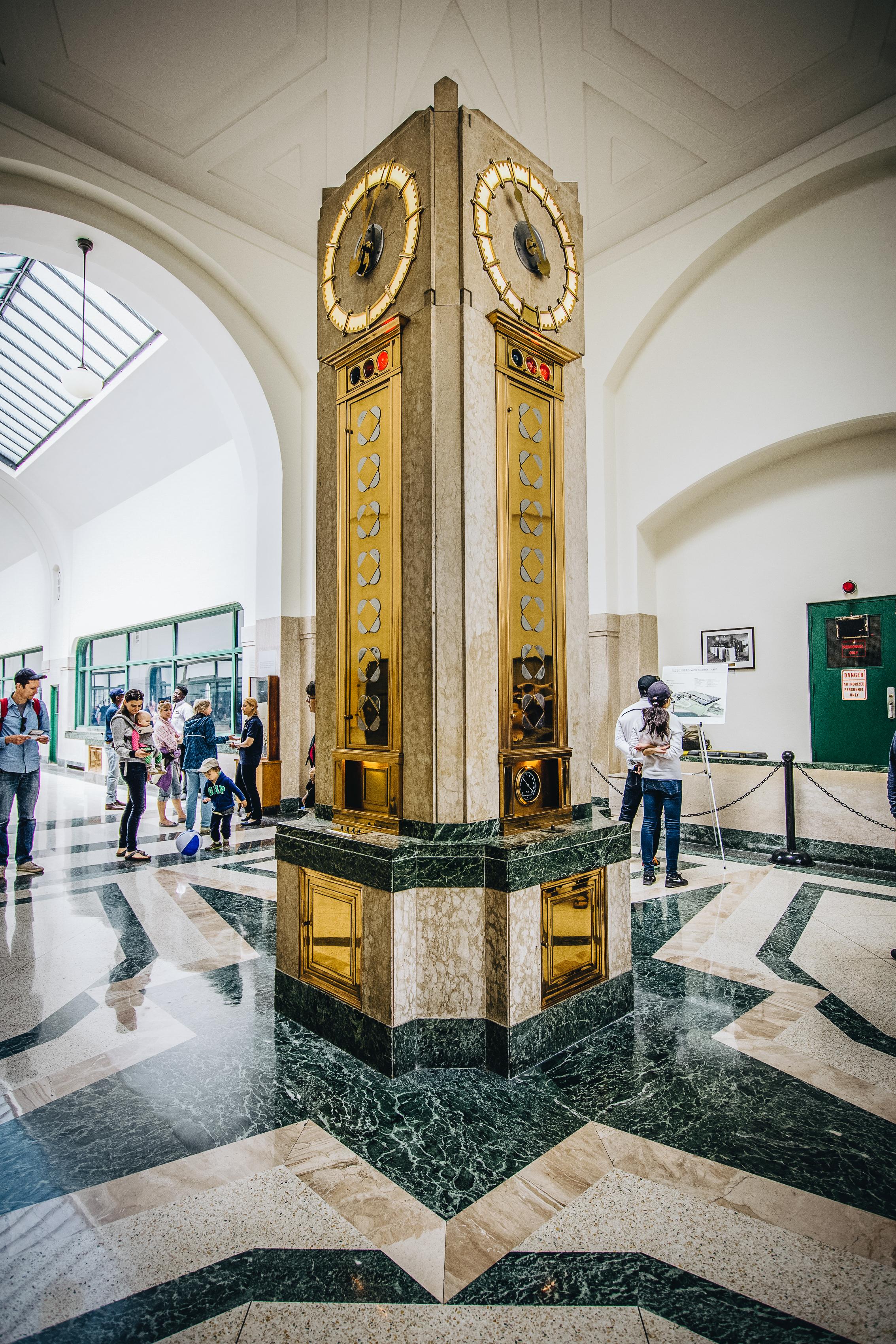 The clock in the main atrium of RC Harris.