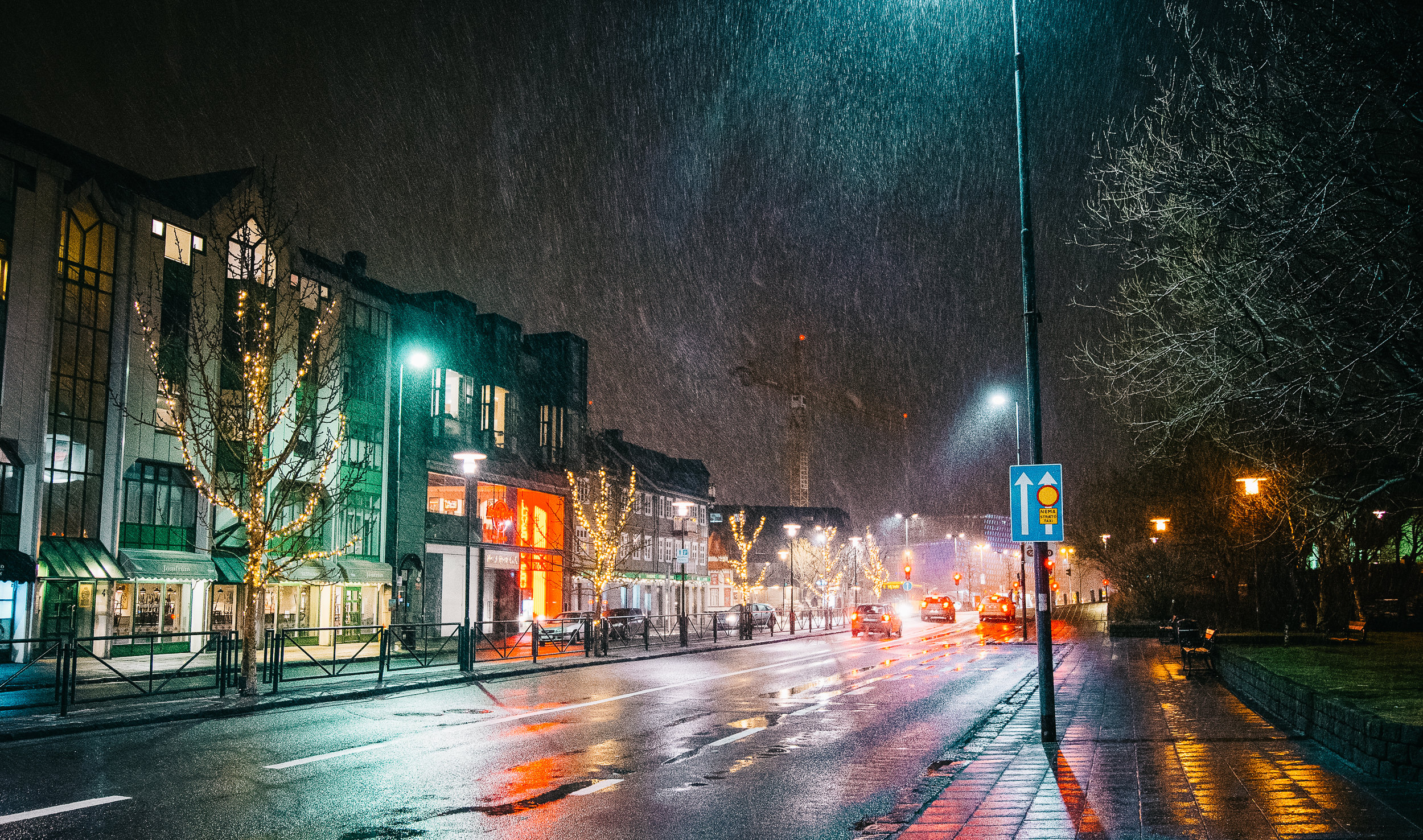 A solo walk in a sleet storm at night.